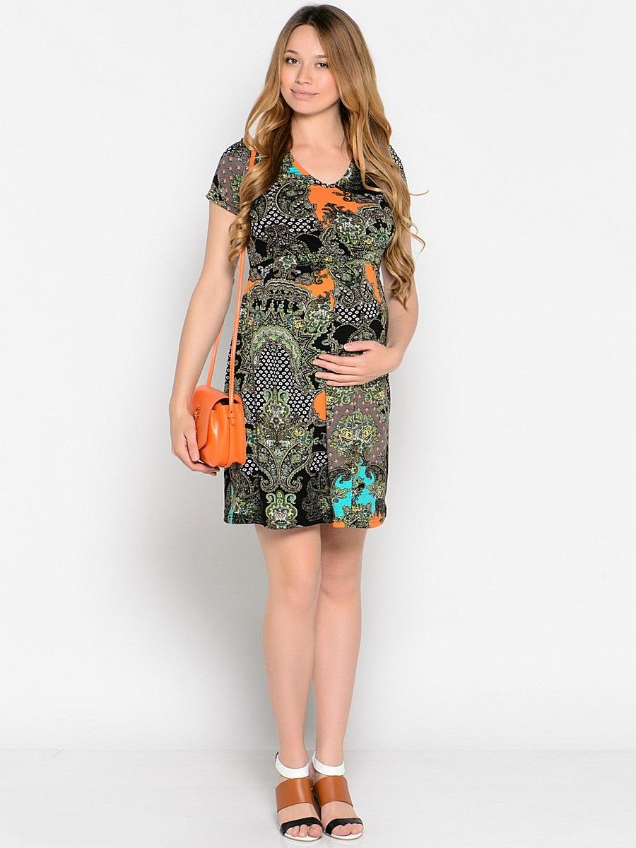 Платье для беременных 40 недель, цвет: серый, оранжевый, бирюзовый. 37378. Размер 5037378Повседневное платье для беременных и кормящих мамочек от бренда 40 недель - отличный выбор на каждый день! Модель с коротким рукавом выполнена из мягкого трикотажного полотна ярких контрастных оттенков, горловина V-образная, в боковых швах втачной поясок. Двойной лиф обеспечивает комфорт при кормлении малыша, а мягкие складки от кокетки создают комфорт для животика на любом сроке беременности. Яркая расцветка сделает привлекательным и оригинальным ваш женственный образ.