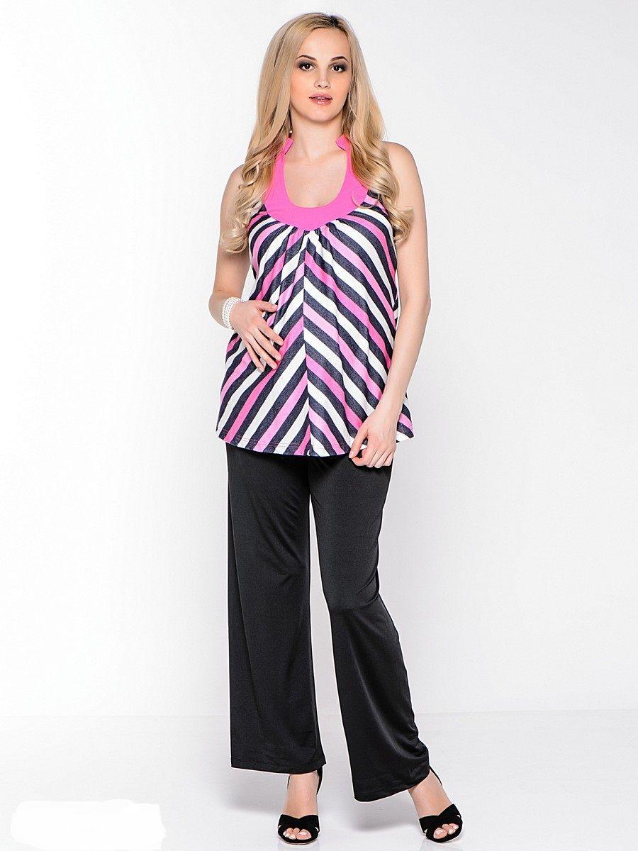 Топ для беременных 40 недель, цвет: розовый, черный. 32351. Размер 4632351Изящный топ для беременных от бренда 40 недель прекрасно дополнит летний гардероб будущей мамы. Модель свободного покроя с легкими складками от округлого декольте. Свободный крой с разноцветными полосками по диагонали идеально корректирует силуэт, глубокое декольте делает акцент на женственности модели, американская пройма обнажает красоту плеч, втачными поясами можно регулировать силуэт.