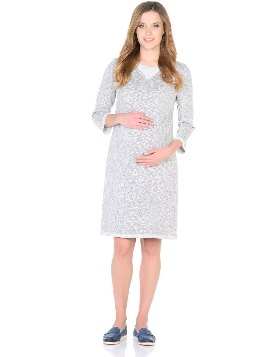 Платье для беременных 40 недель, цвет: серый меланж. 304313. Размер 44304313Модное платье для беременных от бренда 40 недель - отличный вариант для будущей мамы на каждый день. Модель прямого силуэта, с округлым вырезом горловины и рукавом 3/4. Платье изготовлено из ткани футер в современном дизайне. Особая обработка краев платья с эффектом незавершенности, придает лаконичному фасону оттенок гранжевого стиля, декоративная вставка по вороту подчеркивает непринужденность образа.Платье отлично садится по фигуре, не сковывает движений, мягкая ткань создает комфорт для тела. Универсальный фасон позволяет носить такое платье как в период беременности, так и после рождения малыша.