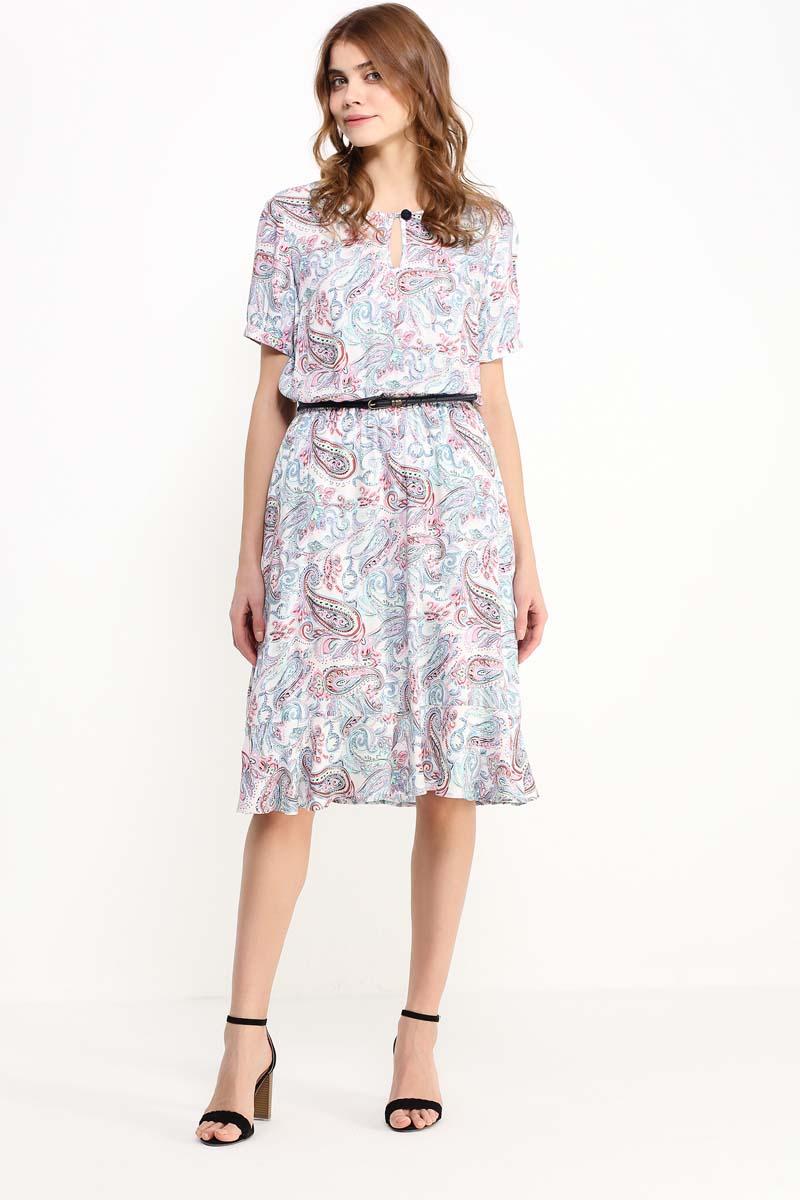 Платье женское Finn Flare, цвет: белый. S17-12019_201. Размер XL (50)S17-12019_201Принт пейсли всё ещё популярен и любим миллионами женщин по всему миру, и этому есть обычное объяснение: рисунок лучше любого другого придаёт любой одежде красочность и нарядность. Это платье выполнено в пастельных тонах, и привычный нам турецкий огурец выглядит необычайно нежным и женственным. Модель можно опоясать кожаным ремешком, грудь украшена вырезом-капелькой. Выполнено это воздушное платье из вискозы, имеется подкладка.