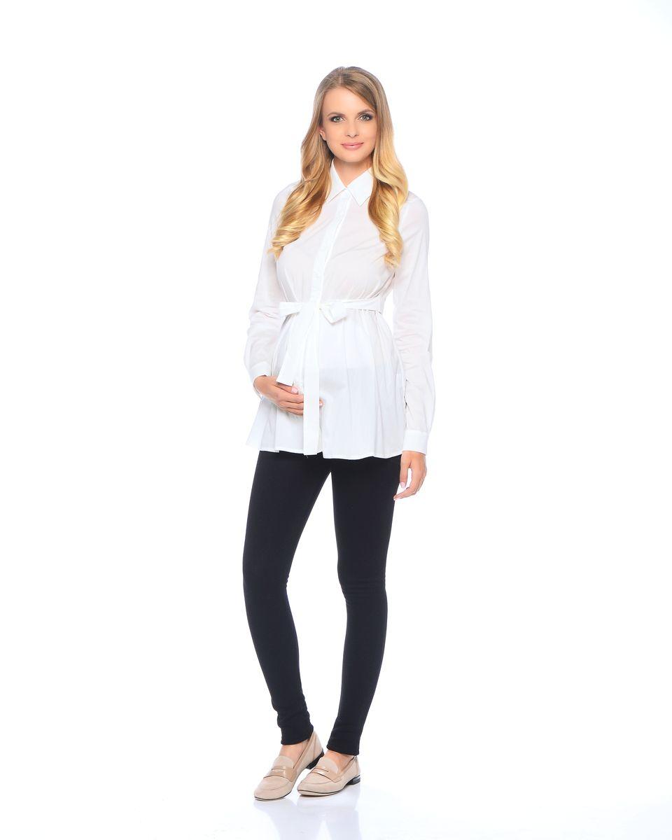 Блузка для беременных 40 недель, цвет: молочный. 215203. Размер 42215203Классическая блузка для беременных от бренда 40 недель - прекрасный офисный вариант для будущей мамы. Модель трапециевидного покроя, с поясом, длинным рукавом и с отложным воротником. Передняя планка полностью застегивается на пуговицы. Специальный крой обеспечивает отличную посадку по фигуре и создает простор для животика. Поясом можно подчеркнуть женственный силуэт.Универсальный фасон позволяет комбинировать такую блузку с любыми предметами гардероба и создавать безупречные образы на каждый день или для особых случаев в период беременности и после рождения малыша.