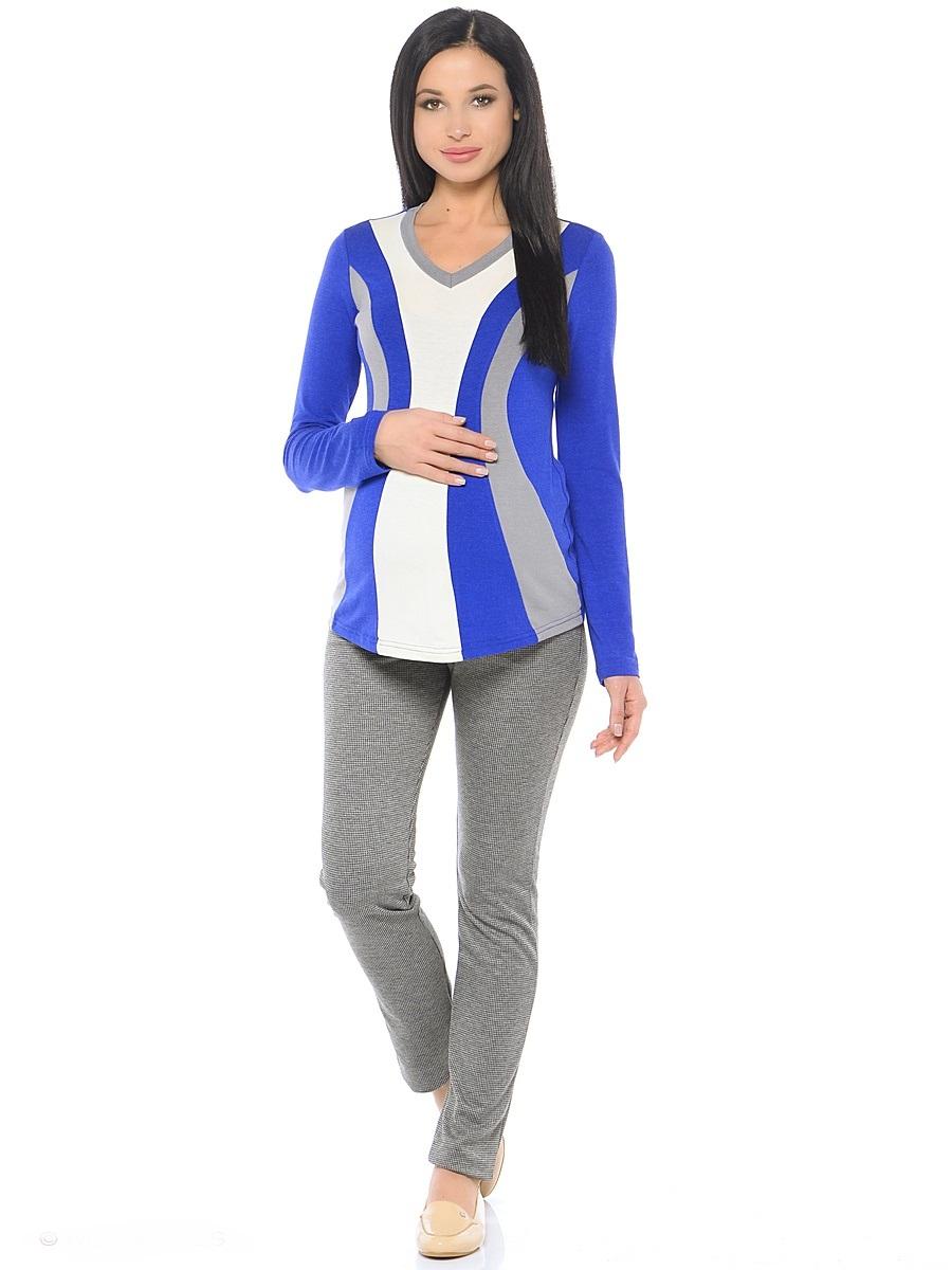 Блузка для беременных 40 недель, цвет: синий, серый, молочный. 200229. Размер 44200229Модная блузка для беременных от бренда 40 недель выполнена из вискозного полотна в комбинированной расцветке. Модель полуприталенного силуэта, с длинным рукавом и V-образным вырезом горловины. Передняя часть блузки выполнена из фигурных клиньев в гармоничной цветовой гамме. Такой крой визуально делает силуэт стройнее, создает объем для животика и позволяет комбинировать такую блузку со многими предметами гардероба на протяжении всего срока беременности и после него.