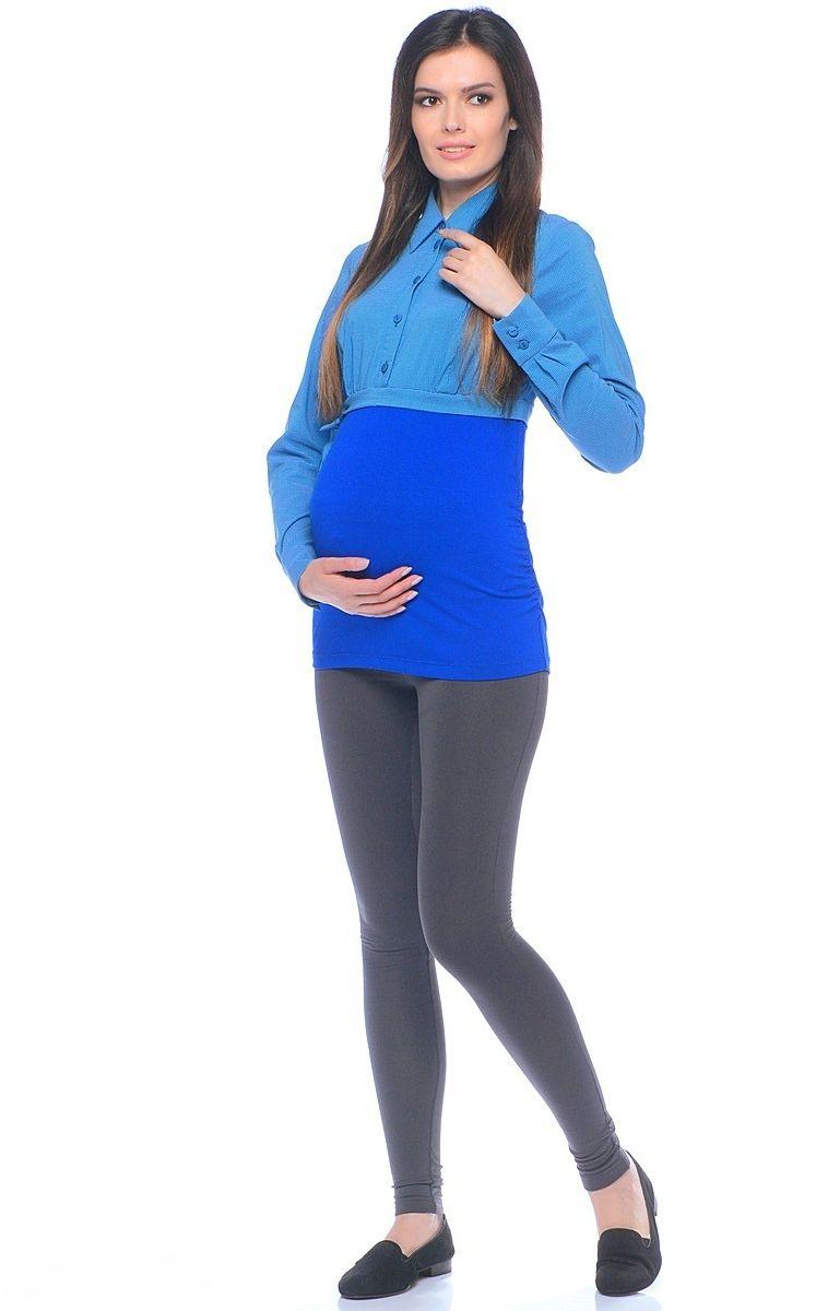Блузка для беременных 40 недель, цвет: синий. 20101. Размер 5020101Комбинированная блузка для беременных от бренда 40 недель исполнена из вискозного полотна и трикотажа. Верхняя часть блузки выполнена по фасону классической рубашки рельефного кроя с передней планкой на пуговицах. Нижняя часть блузки от кокетки - из эластичного трикотажа, боковые швы присобраны на формирующие резинки. Сочетая в себе продуманный дизайн и положительные характеристики в носке, такую блузку комфортно носить на любом сроке беременности и после рождения малыша.
