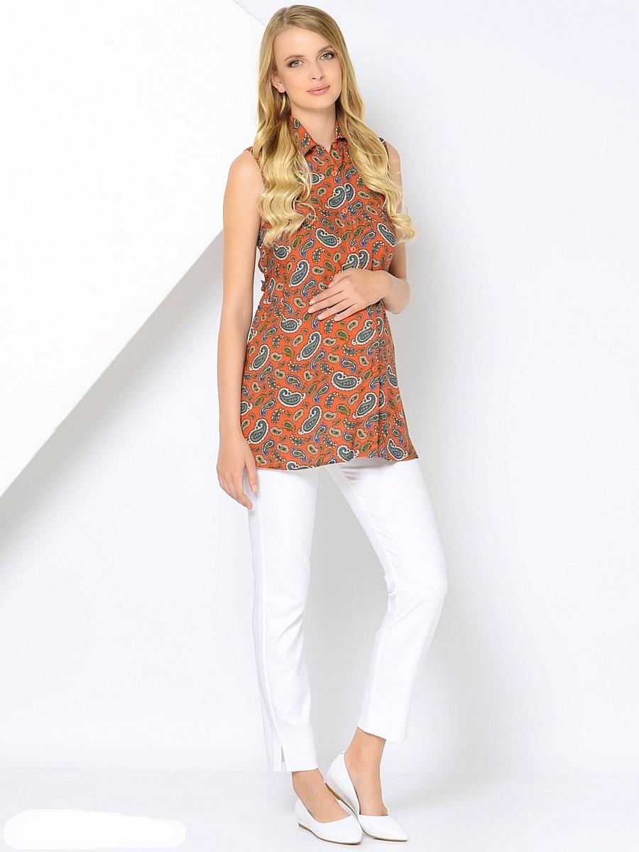 Блузка для беременных 40 недель, цвет: терракотовый. 215201. Размер 44215201Легкая блузка для беременных от бренда 40 недель выполнена из нежной воздушной вискозы. Модель свободного покроя, без рукавов с застежкой на пуговицы. Блузка дополнена отложным воротником и отстегивающимися поясками. Модная блузка рубашка в сочетании с любым низом позволит вам создавать уникальные наряды на каждый день, обеспечивая легкость и комфорт в процессе носки.