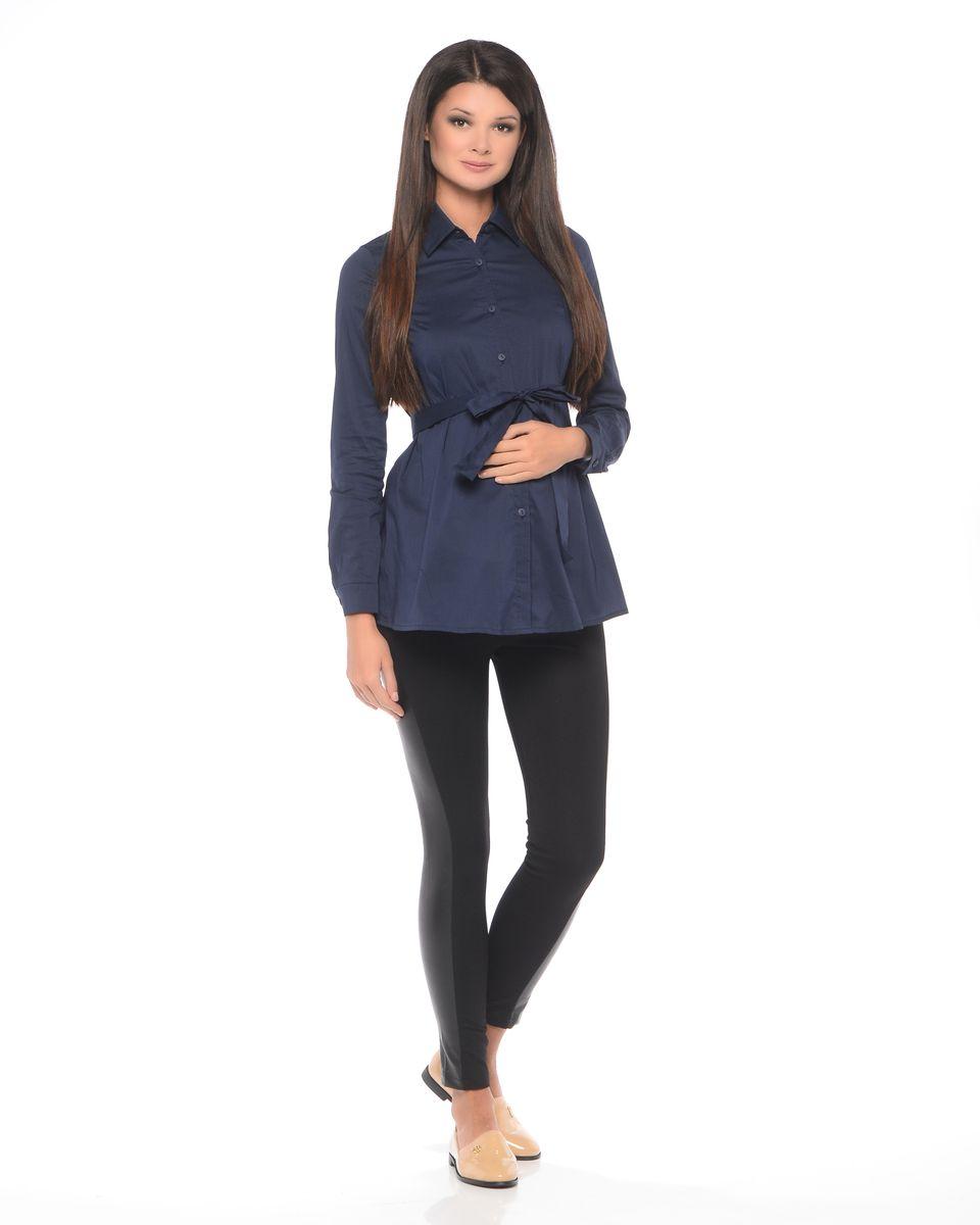 Блузка для беременных 40 недель, цвет: темно-синий. 215203. Размер 48215203Классическая блузка для беременных от бренда 40 недель - прекрасный офисный вариант для будущей мамы. Модель трапециевидного покроя, с поясом, длинным рукавом и с отложным воротником. Передняя планка полностью застегивается на пуговицы. Специальный крой обеспечивает отличную посадку по фигуре и создает простор для животика. Поясом можно подчеркнуть женственный силуэт.Универсальный фасон позволяет комбинировать такую блузку с любыми предметами гардероба и создавать безупречные образы на каждый день или для особых случаев в период беременности и после рождения малыша.