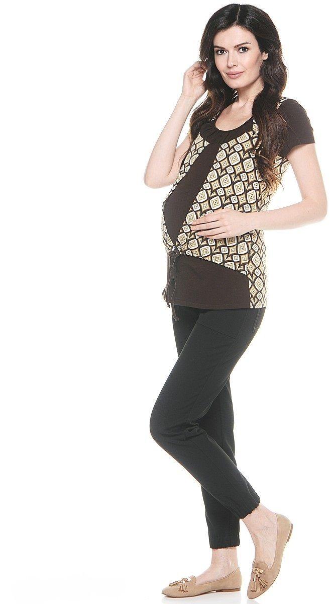 Футболка для беременных 40 недель, цвет: шоколадный. 26275. Размер 4826275Великолепная комбинированная футболка для беременных и кормления от бренда 40 недель порадует вас совим дизайном и функциональностью. Модель с короткими рукавами и округлым вырезом горловины. Имитация изделий два в одном придает фасону оригинальность. Футболка выполнена из приятного материала, продуманный крой обеспечивает отличную посадку по фигуре на любом сроке беременности и после рождения малыша.
