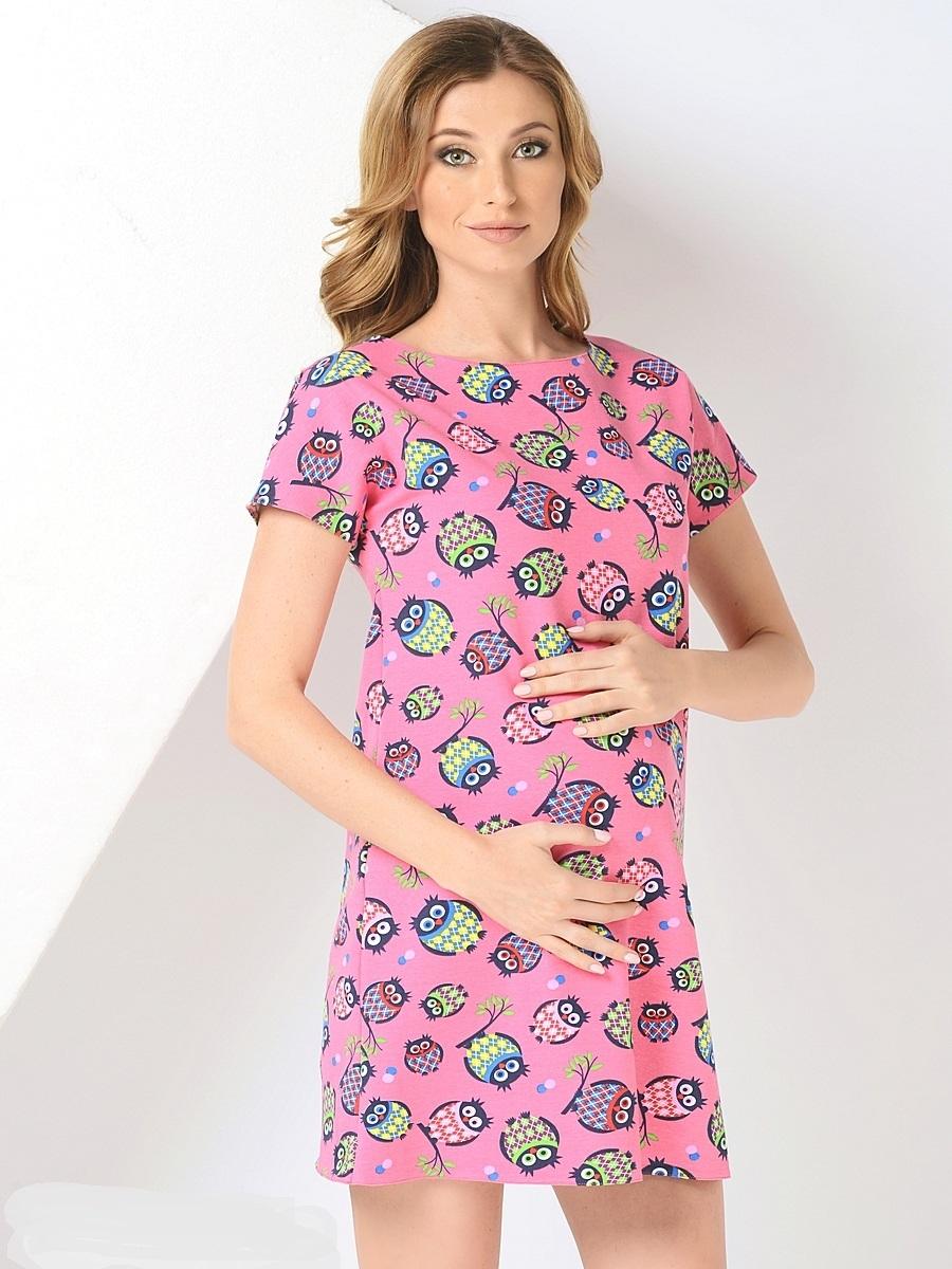 Платье для беременных 40 недель, цвет: розовый. 300302/1. Размер 44300302/1Стильное платье для беременных от бренда 40 недель - прекрасный вариант на лето. Модель трапециевидного кроя с коротким рукавом-реглан и вырезом лодочка. Платье выполнено из трикотажного материала. Правильный крой платья не стесняет свободу движений, мягкая ткань приятная к телу, лаконичный фасон и дизайнерский принт подчеркнет ваш уникальный стиль. Это платье вы с удовольствием будете носить и после рождения малыша.