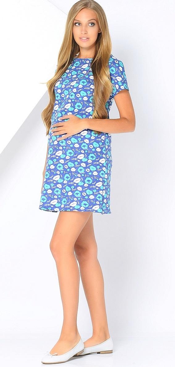 Платье для беременных 40 недель, цвет: синий, белый, бирюзовый. 300302/1. Размер 46300302/1Стильное платье для беременных от бренда 40 недель - прекрасный вариант на лето. Модель трапециевидного кроя с коротким рукавом-реглан и вырезом лодочка. Платье выполнено из трикотажного материала. Правильный крой платья не стесняет свободу движений, мягкая ткань приятная к телу, лаконичный фасон и дизайнерский принт подчеркнет ваш уникальный стиль. Это платье вы с удовольствием будете носить и после рождения малыша.