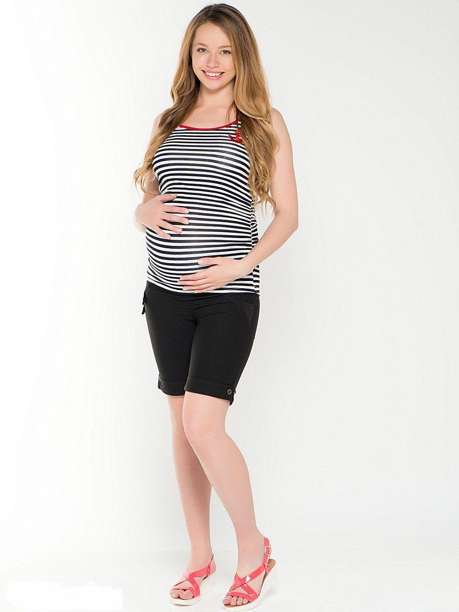 Майка для беременных 40 недель, цвет: черный. 25262. Размер 4225262Стильная майка для беременных от бренда 40 недель выполнена из трикотажа. Модель с принтом в контрастную полоску, прямого силуэта, с округлой горловиной спереди, сзади - фигурный вырез в виде капли. Края изделия оформлены кантом, объем на животик придают мягкие склады из бокового шва по переду и спинке майки.