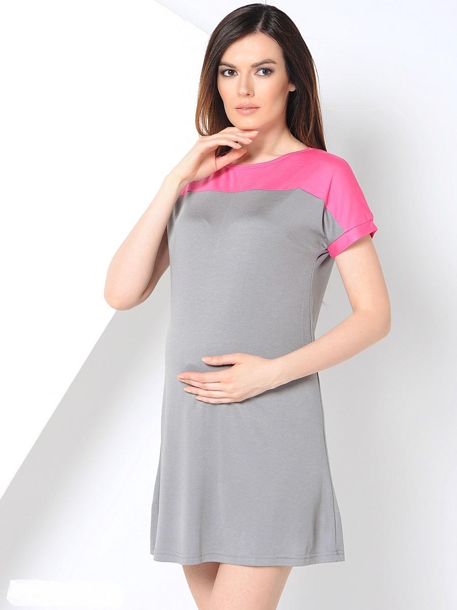 Платье для беременных 40 недель, цвет: серый, розовый. 300304. Размер 46300304Повседневное платье для беременных от бренда 40 недель покорит вас своим дизайном. Модель прямого силуэта с коротким рукавом-реглан и вырезом лодочка. Благодаря эластичному материалу и свободному крою, платье идеально садиться по фигуре и обеспечивает комфорт при движении. Женственный вырез изящно подчеркивает вырез плеч, короткий спущенный рукав и дышащая ткань создают благоприятное ощущение при носке даже в жаркую погоду.
