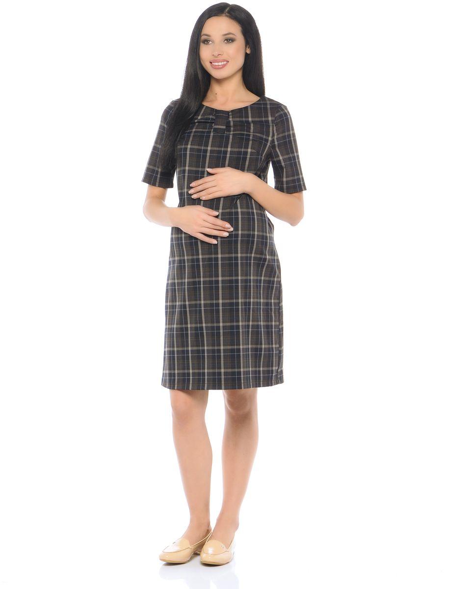 Платье для беременных 40 недель, цвет: темно-коричневый. 300314. Размер 48300314Элегантное платье для беременных от бренда 40 недель выполнено из приятного к телу материала в модной расцветке. Модель свободного кроя, с коротким рукавом и округлым вырезом горловины. Продуманный крой с вытачками обеспечивает хорошую посадку по фигуре и предусматривает объем для животика. Втачной пояс по бокам позволяет регулировать силуэт. Верхняя часть платья декорирована стильным элементом в виде банта. Такое платье будет дарить вам комфорт на протяжении всего периода беременности и после него.
