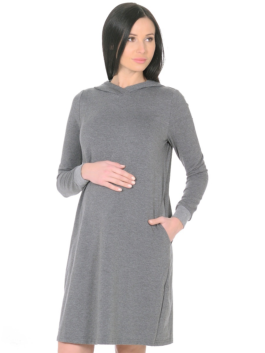 Платье для беременных 40 недель, цвет: темно-серый. 300315. Размер 50300315Стильное повседневное платье для беременных от бренда 40 недель - практичное решение для будущей мамы. Комфортная модель прямого силуэта, с длинными рукавами на манжетах. Капюшон и карманы в боковых швах придают платью спортивный оттенок. Изделие отлично садится по фигуре, не сковывает движений, мягкая ткань создает комфорт для тела. Универсальный фасон позволяет носить такое платье как в период беременности, так и после рождения малыша.