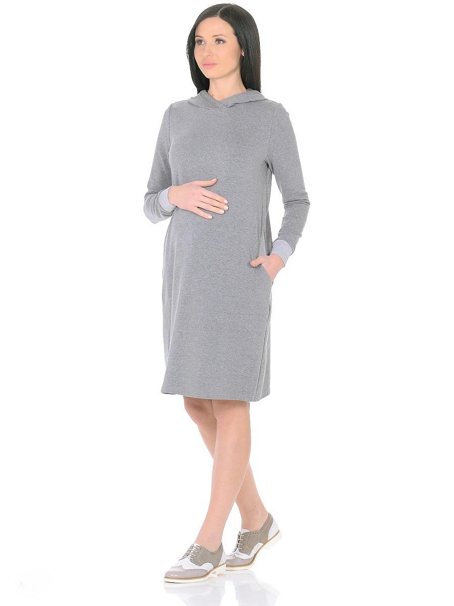 Платье для беременных 40 недель, цвет: серый. 300315. Размер 48300315Стильное повседневное платье для беременных от бренда 40 недель - практичное решение для будущей мамы. Комфортная модель прямого силуэта, с длинными рукавами на манжетах. Капюшон и карманы в боковых швах придают платью спортивный оттенок. Изделие отлично садится по фигуре, не сковывает движений, мягкая ткань создает комфорт для тела. Универсальный фасон позволяет носить такое платье как в период беременности, так и после рождения малыша.