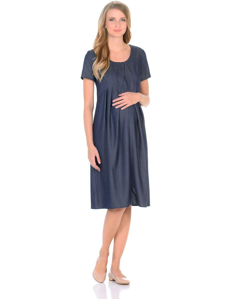 Платье для беременных 40 недель, цвет: темно-синий. 300316. Размер 44300316Замечательное платье для беременных от бренда 40 недель выполнено из легкого денима. Модель с короткими рукавами и округлым вырезом горловины. Платье свободного покроя в форме тюльпана, специальные отстрочки по переду образуют аккуратные складки от кокетки, создающие объем для животика. Платье превосходно садится по фигуре, благодаря продуманному крою и вытачкам, втачными поясами можно регулировать силуэт. В таком платье беременная женщина будет чувствовать себя всегда комфортно и выглядеть стильно и современно.