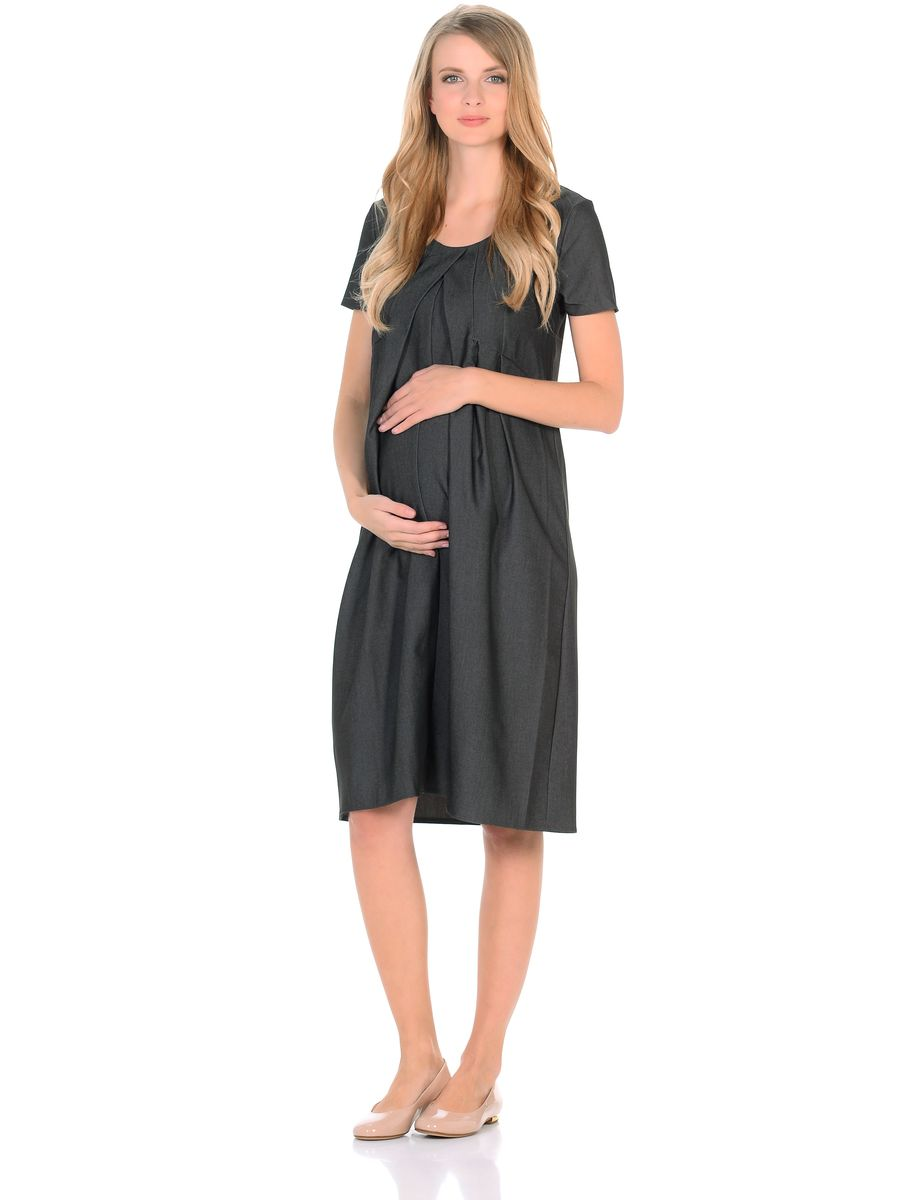 Платье для беременных 40 недель, цвет: черный. 300316. Размер 42300316Замечательное платье для беременных от бренда 40 недель выполнено из легкого денима. Модель с короткими рукавами и округлым вырезом горловины. Платье свободного покроя в форме тюльпана, специальные отстрочки по переду образуют аккуратные складки от кокетки, создающие объем для животика. Платье превосходно садится по фигуре, благодаря продуманному крою и вытачкам, втачными поясами можно регулировать силуэт. В таком платье беременная женщина будет чувствовать себя всегда комфортно и выглядеть стильно и современно.
