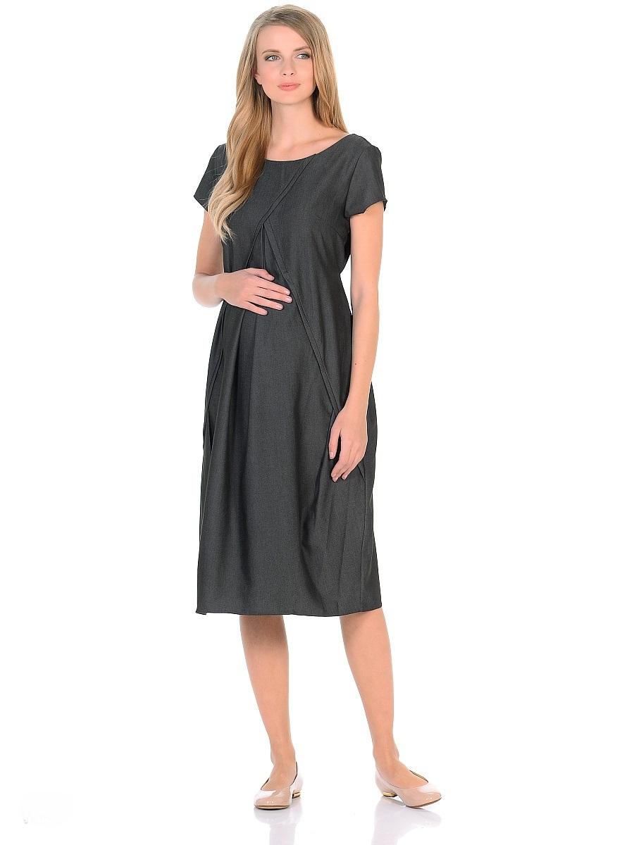 Платье для беременных 40 недель, цвет: черный. 300318. Размер 50300318Женственное платье для беременных от бренда 40 недель выполнено из легкого денима. Модель с короткими рукавами, с округлым вырезом горловины по переду и V-образным на спинке. Платье свободного покроя в форме тюльпана, специальные отстрочки по переду образуют аккуратные складки, создающие объем для животика. Платье превосходно садится по фигуре, благодаря продуманному крою и вытачкам, втачными поясами можно регулировать силуэт. В таком платье беременная женщина будет чувствовать себя комфортно и выглядеть стильно и современно.