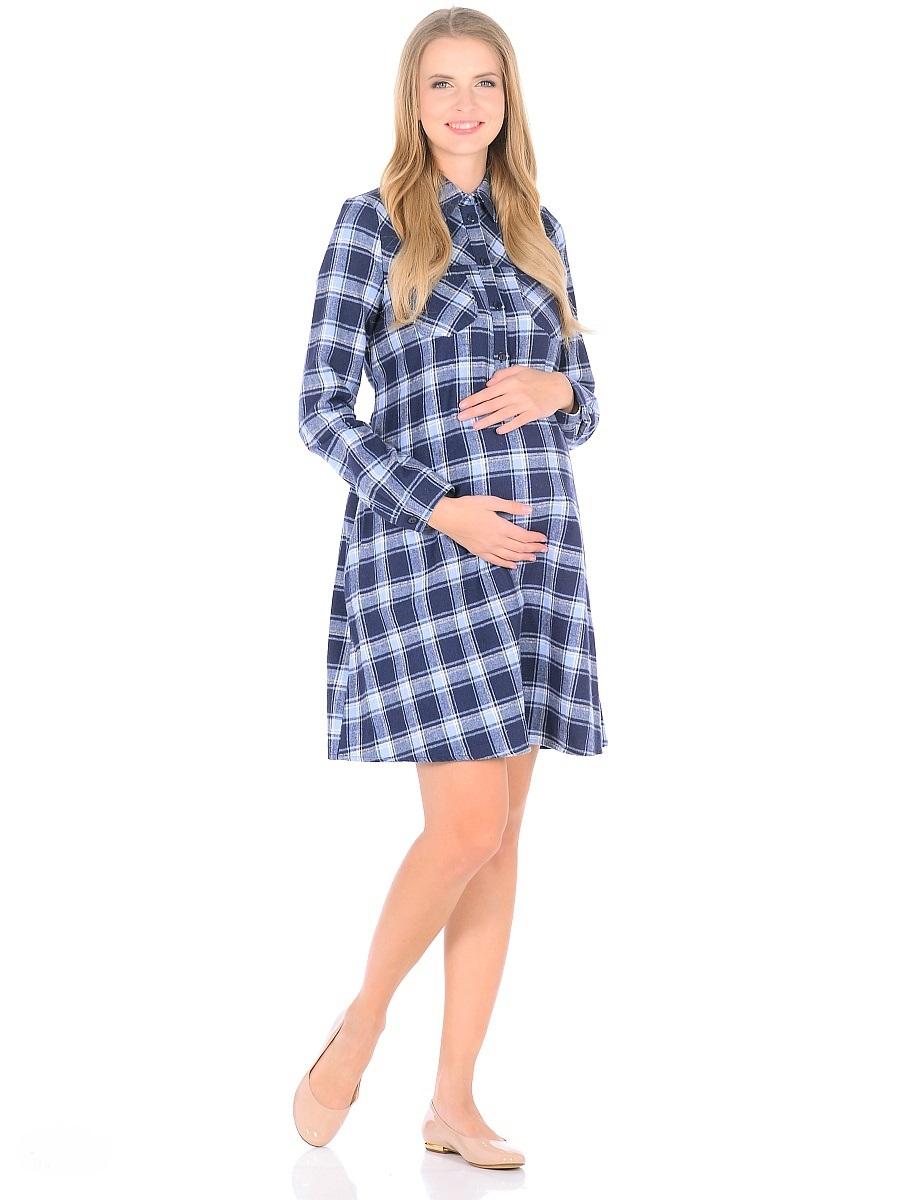 Платье для беременных 40 недель, цвет: синий, голубой. 300323. Размер 48300323Комфортное платье для беременных и кормящих женщин изготовлено из мягкого материала в клетку. Модель трапециевидного покроя с высокой кокеткой, на спинке складка по верху, рукава длинные на манжетах с пуговицами, воротник отложной, планка до талии застегивается на пуговицы. Платье имеет два накладных кармана на полочке и два кармана в боковых швах, выше талии - завязки. Продуманный универсальный фасон позволяет носить такое платье в период беременности и после рождения малыша. Планка с пуговицами обеспечивает доступность для грудного кормления.