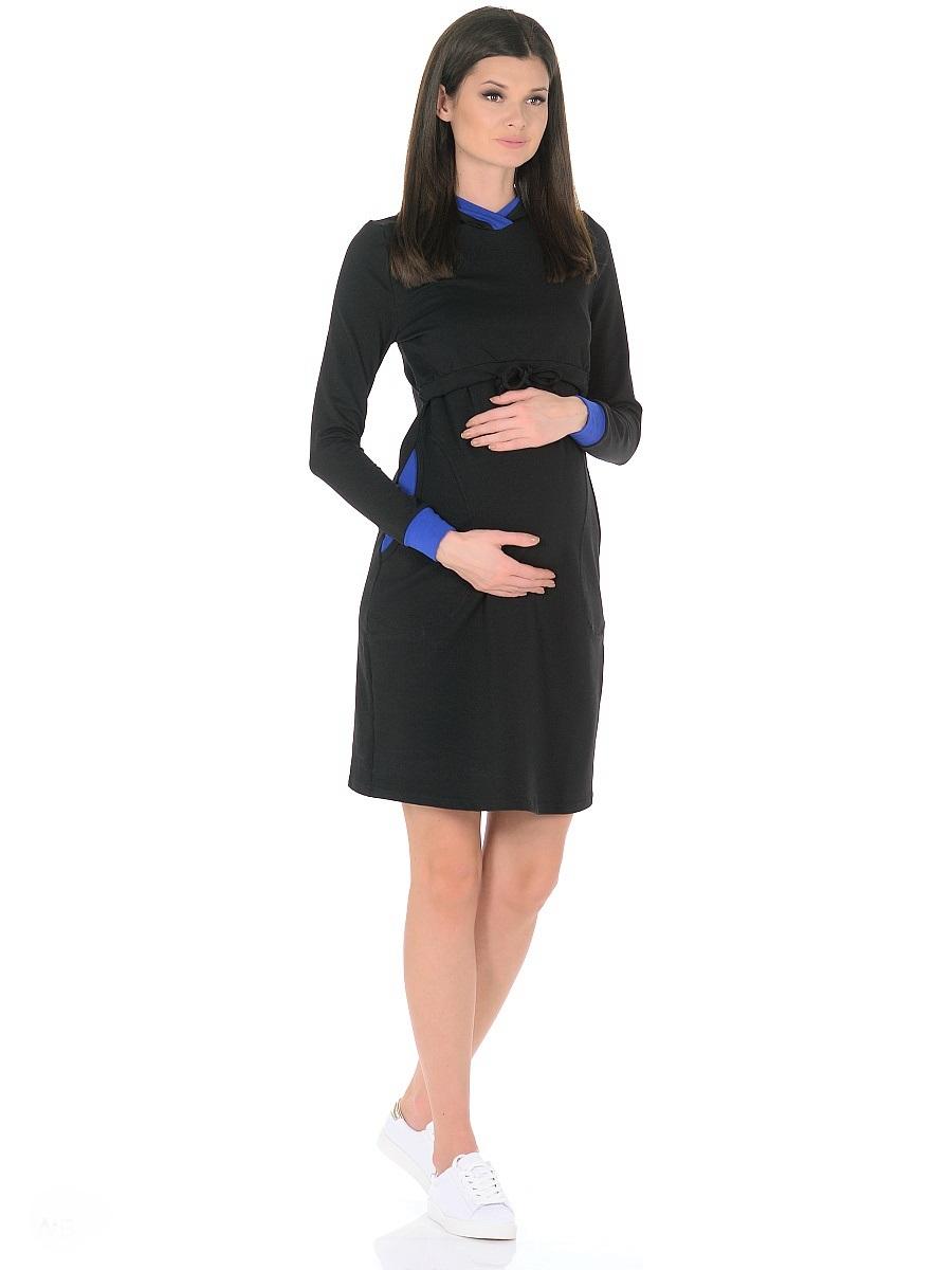 Платье для беременных 40 недель, цвет: черный, синий. 300326. Размер 44300326Модное повседневное платье для беременных и кормящих женщин от бренда 40 недель изготовлено из хлопкового трикотажа-футер. Модель прямого силуэта с капюшоном, с длинными рукавами на манжетах, дополнено вместительными карманами. Платье имеет горизонтальный секрет кормления, достаточно приподнять верхний слой кокетки и с комфортом покормить малыша. Кулиска на завязках в основании кокетки, капюшон с контрастной отделкой, эластичные манжеты на рукавах и вставки в карманах придают платью спортивный оттенок, делают его очень удобным, практичным и незаменимым в период беременности и во время грудного вскармливания.