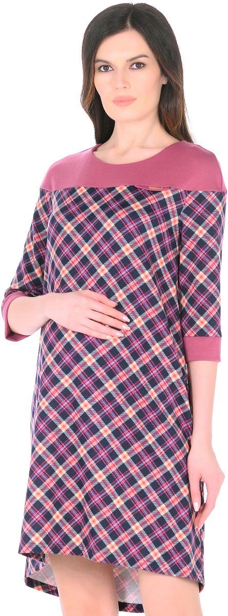 Платье для беременных 40 недель, цвет: розовый, синий. 300328. Размер 46300328Стильное платье для беременных женщин от бренда 40 недель изготовлено из трикотажного полотна. Ткань приятная к телу, мягкая и не мнется. Модель свободного трапециевидного покроя, с высокой отрезной кокеткой, с рукавами 1/2, вырез горловины округлый, спинка слегка удлиненная. Стильная комбинированная расцветка привлекает внимание, декоративный элемент на груди придает изюминку. Платье хорошо садится по фигуре, продуманный крой предусматривает пространство для растущего животика. Отражая последние модные тенденции, такое платье подчеркнет хороший вкус, сделает образ беременной женщины модным, современным и привлекательным.