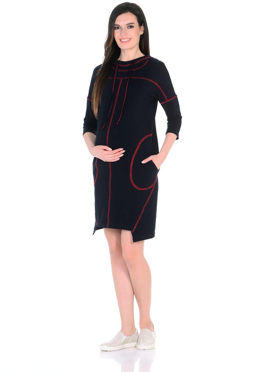 Платье для беременных 40 недель, цвет: черный, красный. 300329. Размер 46300329Оригинальное платье для беременных от бренда 40 недель изготовлено из трикотажного полотна. Модель прямого силуэта со спущенным плечевым швом и рукавами 3/4 в стиле oversize. Практичный капюшон с высоким воротом и кулиской на завязках и объемные карманы придают платью спортивный оттенок. Геометрическая форма низа и четкие линии декоративной отстрочки придают модели оригинальный внешний вид. Платье отлично садится по фигуре, не сковывает движений, создает комфорт и непринужденность на любом сроке беременности и после. К тому же такое платье дарит возможность подчеркнуть свою индивидуальность и реализовать желание выглядеть интересно и особенно стильно.