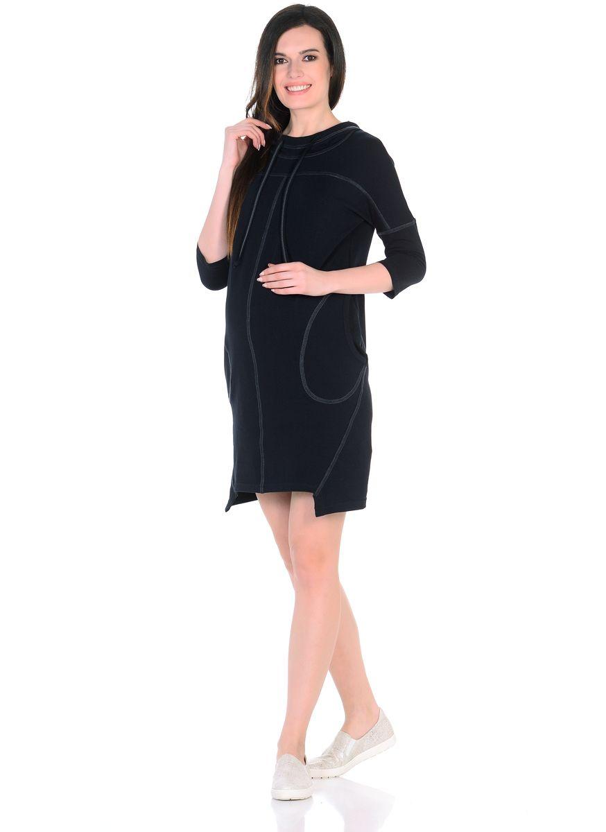 Платье для беременных 40 недель, цвет: черный, серый. 300329. Размер 50300329Оригинальное платье для беременных от бренда 40 недель изготовлено из трикотажного полотна. Модель прямого силуэта со спущенным плечевым швом и рукавами 3/4 в стиле oversize. Практичный капюшон с высоким воротом и кулиской на завязках и объемные карманы придают платью спортивный оттенок. Геометрическая форма низа и четкие линии декоративной отстрочки придают модели оригинальный внешний вид. Платье отлично садится по фигуре, не сковывает движений, создает комфорт и непринужденность на любом сроке беременности и после. К тому же такое платье дарит возможность подчеркнуть свою индивидуальность и реализовать желание выглядеть интересно и особенно стильно.