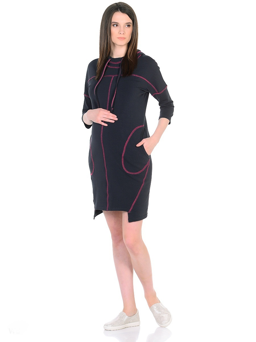 Платье для беременных 40 недель, цвет: антрацитовый, розовый. 300329. Размер 44300329Оригинальное платье для беременных от бренда 40 недель изготовлено из трикотажного полотна. Модель прямого силуэта со спущенным плечевым швом и рукавами 3/4 в стиле oversize. Практичный капюшон с высоким воротом и кулиской на завязках и объемные карманы придают платью спортивный оттенок. Геометрическая форма низа и четкие линии декоративной отстрочки придают модели оригинальный внешний вид. Платье отлично садится по фигуре, не сковывает движений, создает комфорт и непринужденность на любом сроке беременности и после. К тому же такое платье дарит возможность подчеркнуть свою индивидуальность и реализовать желание выглядеть интересно и особенно стильно.