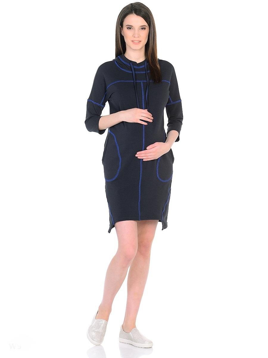 Платье для беременных 40 недель, цвет: антрацитовый, синий. 300329. Размер 48300329Оригинальное платье для беременных от бренда 40 недель изготовлено из трикотажного полотна. Модель прямого силуэта со спущенным плечевым швом и рукавами 3/4 в стиле oversize. Практичный капюшон с высоким воротом и кулиской на завязках и объемные карманы придают платью спортивный оттенок. Геометрическая форма низа и четкие линии декоративной отстрочки придают модели оригинальный внешний вид. Платье отлично садится по фигуре, не сковывает движений, создает комфорт и непринужденность на любом сроке беременности и после. К тому же такое платье дарит возможность подчеркнуть свою индивидуальность и реализовать желание выглядеть интересно и особенно стильно.