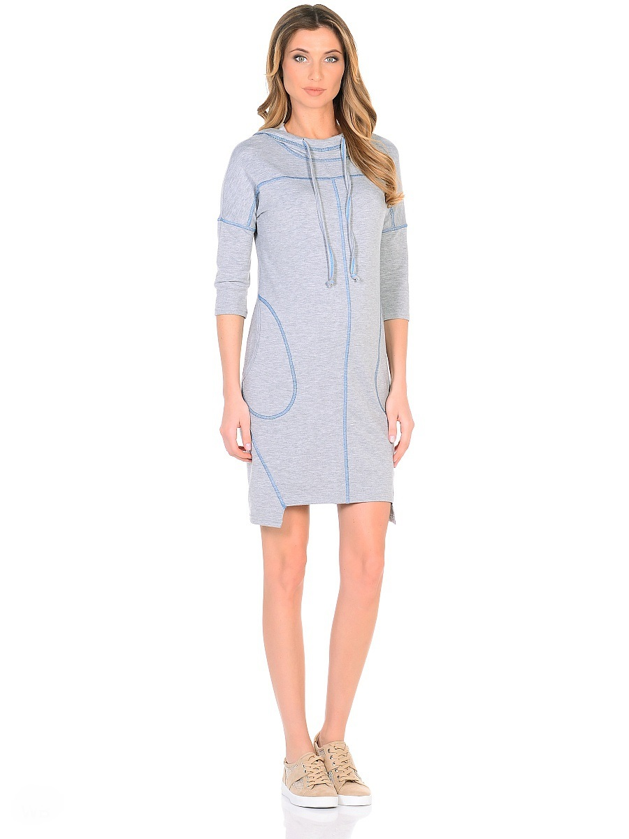 Платье для беременных 40 недель, цвет: серый, голубой. 300329. Размер 46300329Оригинальное платье для беременных от бренда 40 недель изготовлено из трикотажного полотна. Модель прямого силуэта со спущенным плечевым швом и рукавами 3/4 в стиле oversize. Практичный капюшон с высоким воротом и кулиской на завязках и объемные карманы придают платью спортивный оттенок. Геометрическая форма низа и четкие линии декоративной отстрочки придают модели оригинальный внешний вид. Платье отлично садится по фигуре, не сковывает движений, создает комфорт и непринужденность на любом сроке беременности и после. К тому же такое платье дарит возможность подчеркнуть свою индивидуальность и реализовать желание выглядеть интересно и особенно стильно.