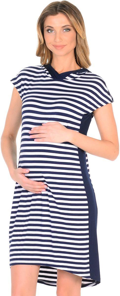 Платье для беременных 40 недель, цвет: темно-синий, белый. 300330/2. Размер 48300330/2Стильное платье для беременных от бренда 40 недель выполнено из вискозного полотна в полоску. Модель прямого силуэта с капюшоном и с короткими рукавами, линия низа по спинке немного удлиненная. Платье легкое и комфортное. Вертикальная полоска и вставки по бокам визуально вытягивают силуэт, корректируют временные несовершенства, делая фигуру стройнее. Платье подходит в период беременности и после рождения малыша.