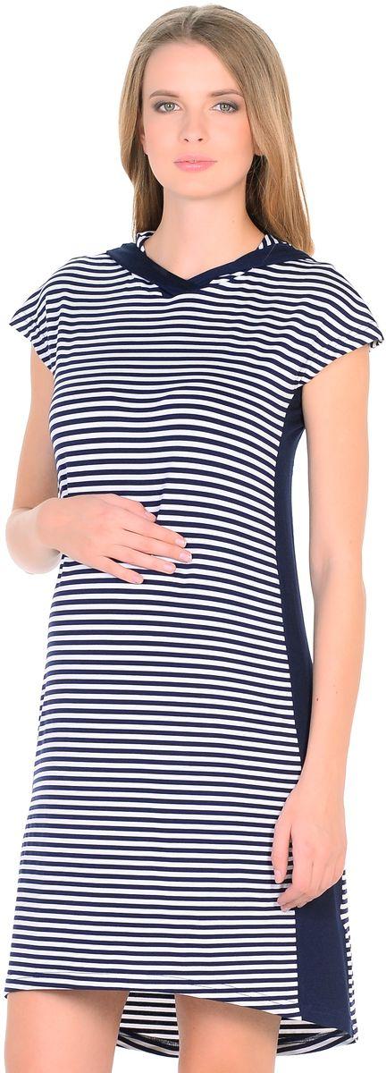 Платье для беременных 40 недель, цвет: синий, белый. 300330/3. Размер 46300330/3Стильное платье для беременных от бренда 40 недель выполнено из вискозного полотна в полоску. Модель прямого силуэта с капюшоном и с короткими рукавами, линия низа по спинке немного удлиненная. Платье легкое и комфортное. Вертикальная полоска и вставки по бокам визуально вытягивают силуэт, корректируют временные несовершенства, делая фигуру стройнее. Платье подходит в период беременности и после рождения малыша.
