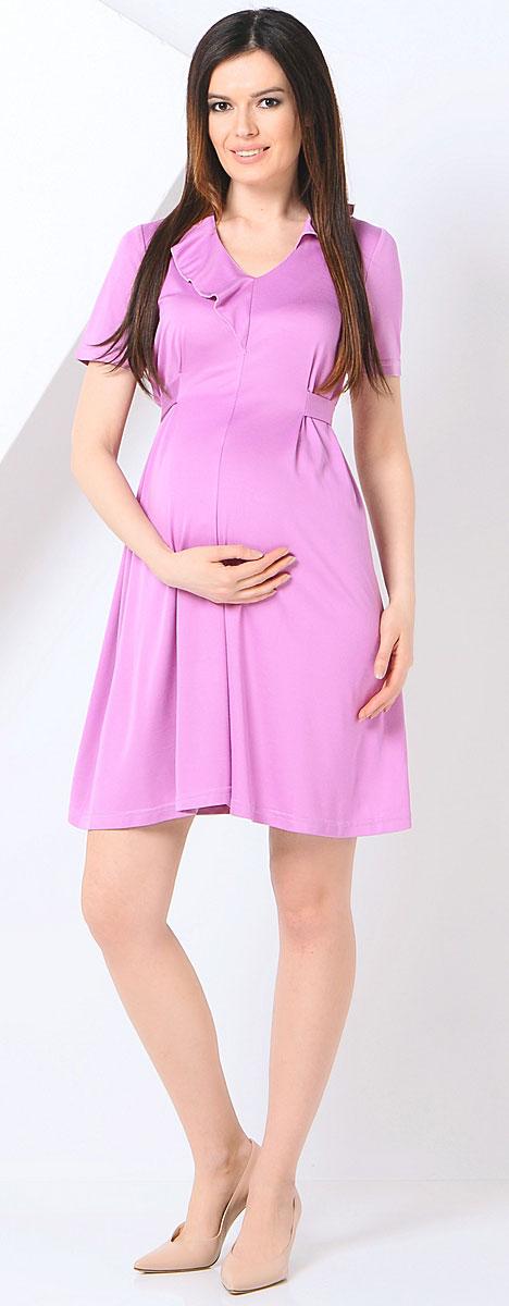 Платье для беременных 40 недель, цвет: сиреневый. 300369. Размер 44300369/Элегантное платье для беременных от бренда 40 недель выполнено из мягкого хлопка с небольшим добавлением лайкры. Модель с V-образным вырезом горловины и короткими рукавами дополнена на спинке специальными регулирующими объем завязками, позволяющими носить это платье на всем сроке беременности и после нее. Уникальный крой и дизайн позволят вам отлично выглядеть и с комфортом носить это платье каждый день.