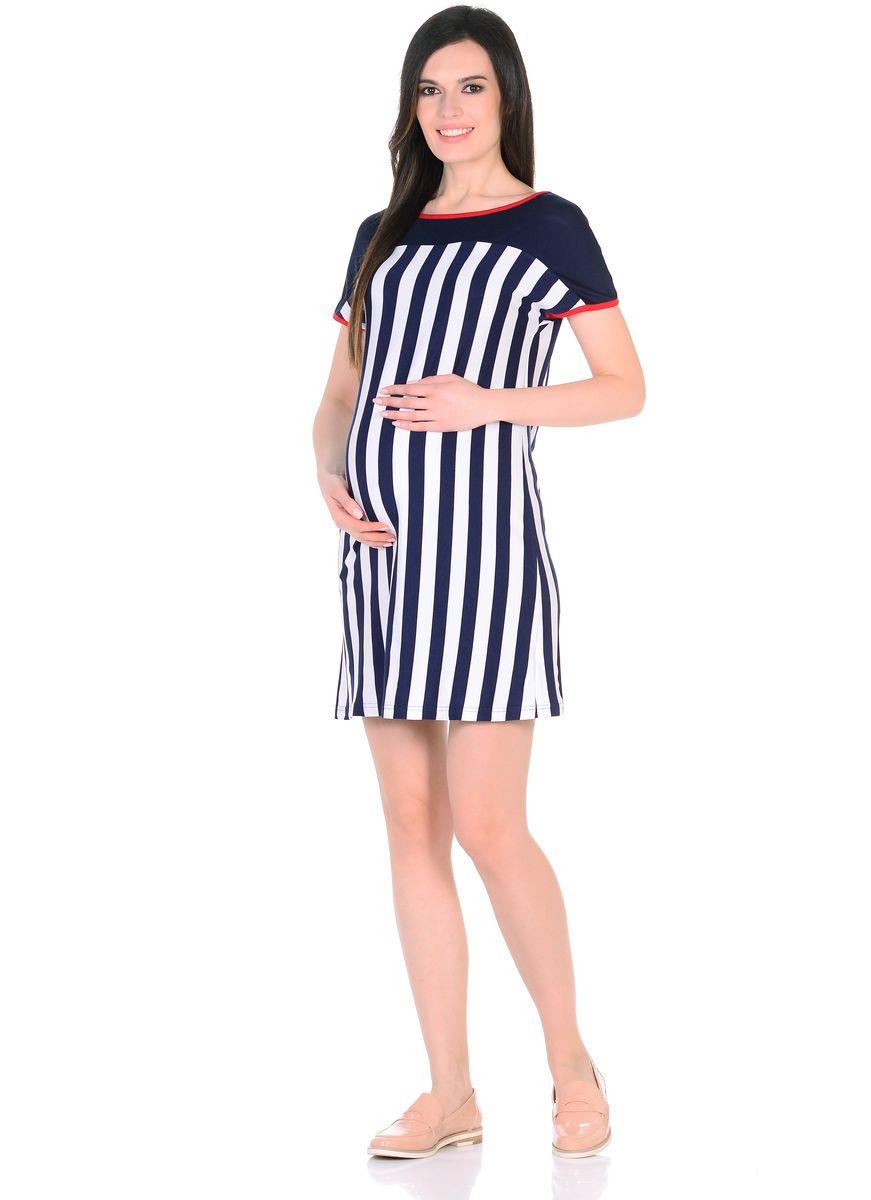 Платье для беременных 40 недель, цвет: синий, белый, красный. 301304/1. Размер 48301304/1Легкое повседневное платье для беременных женщин от бренда 40 недель выполнено из вискозного полотна в полоску. Модель свободного силуэта, с высокой однотонной кокеткой, короткие рукава цельнокроеные, округлый вырез горловины обработан контрастной окантовкой. Благодаря правильному крою и мягкости ткани, платье хорошо садиться по фигуре, не сковывает движений, создает комфорт на любом сроке беременности. Вискозное полотно обладает эффектом легкой прохлады, приятно для тела, не мнется, плавно струится. К тому же такое платье привлекает внимание еще и своей универсальностью, его можно носить и после рождения малыша, вертикальная полоска визуально вытягивает фигуру, корректирует временные несовершенства, делая образ более стройным и привлекательным.