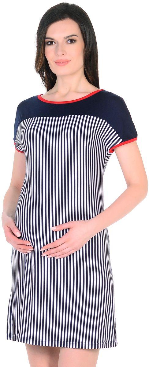 Платье для беременных 40 недель, цвет: синий, белый, красный. 301304/3. Размер 46301304/3Легкое повседневное платье для беременных женщин от бренда 40 недель выполнено из вискозного полотна в полоску. Модель свободного силуэта, с высокой однотонной кокеткой, короткие рукава цельнокроеные, округлый вырез горловины обработан контрастной окантовкой. Благодаря правильному крою и мягкости ткани, платье хорошо садиться по фигуре, не сковывает движений, создает комфорт на любом сроке беременности. Вискозное полотно обладает эффектом легкой прохлады, приятно для тела, не мнется, плавно струится. К тому же такое платье привлекает внимание еще и своей универсальностью, его можно носить и после рождения малыша, вертикальная полоска визуально вытягивает фигуру, корректирует временные несовершенства, делая образ более стройным и привлекательным.