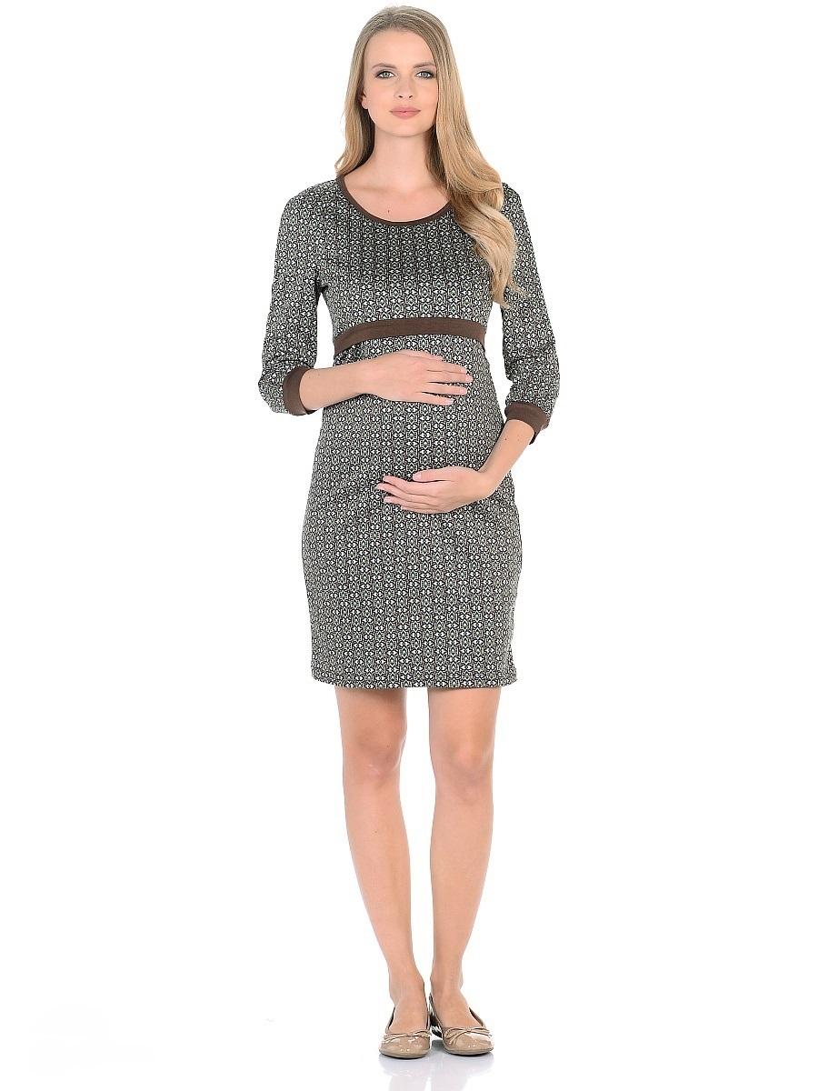 Платье для беременных 40 недель, цвет: бежевый, зеленый, коричневый. 301309. Размер 44301309Модное платье для беременных и кормящих женщин от бренда 40 недель - отличный выбор на каждый день! Модель с рукавами-реглан 3/4 и с округлым вырезом горловины выполнена из приятного к телу трикотажа в привлекательной расцветке. Края оформлены контрастной окантовкой. Платье имеет уникальный секрет кормления. Для комфортного и незаметного кормления малыша, достаточно приподнять верхний слой кокетки, и с комфортом покормить малыша грудью, незаметно для окружающих. Платье превосходно садится по фигуре, красиво подчеркивая женственные формы, в тачными поясками по бокам можно регулировать силуэт делая его более совершенным.