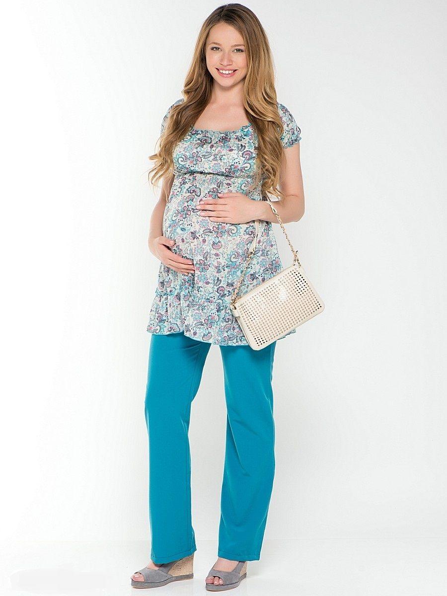 Брюки для беременных 40 недель, цвет: темно-голубой. 15181. Размер 4415181Стильные брюки для беременных от бренда 40 недель - отличный выбор для будущей мамы. Брюки под растущий животик, выполненные из текстильного полотна со стрейчем, прямого покроя, с накладными карманами сзади. Удобные, приятные к телу, хорошо садятся по фигуре. Яркий, насыщенный оттенок придаст вашему образу выразительность и привлекательность.