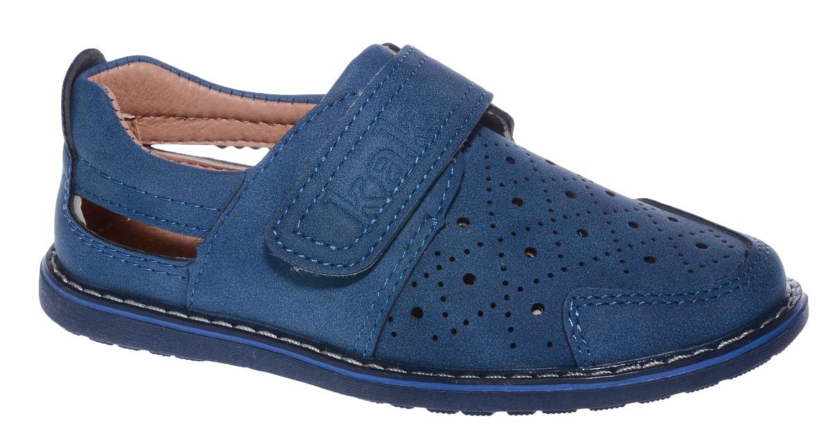 Полуботинки для мальчика Канарейка, цвет: синий. F646-2. Размер 28F646-2Стильные полуботинки Канарейка займут достойное место в гардеробе вашего мальчика. Модель выполнена из искусственной кожи. Ремешок-липучка, оформленный логотипом бренда, гарантирует оптимальную посадку модели на ноге. Мыс изделия оформлен сквозной перфорацией. Рифление на подошве обеспечивает отличное сцепление с поверхностью. Стильные полуботинки придутся по душе вашему мальчику.