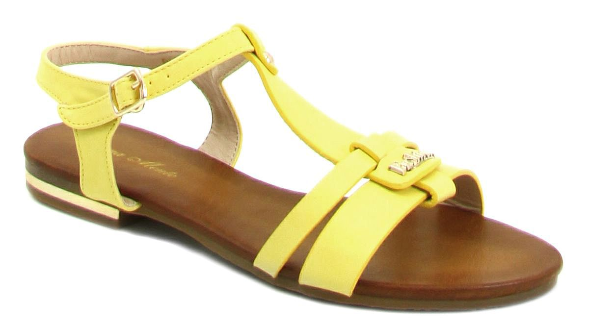Сандалии женские Bona Mente, цвет: желтый. D36-20. Размер 36D36-20Женские сандалии от Bona Mente выполнены из искусственной кожи. Модель фиксируется на ноге при помощи ремешка на пряжке. Подкладка и стелька, изготовленные из искусственной кожи, обладают хорошей влаговпитываемостью и естественной воздухопроницаемостью. Подошва из резины обеспечивает хорошую амортизацию и сцепление с любой поверхностью.