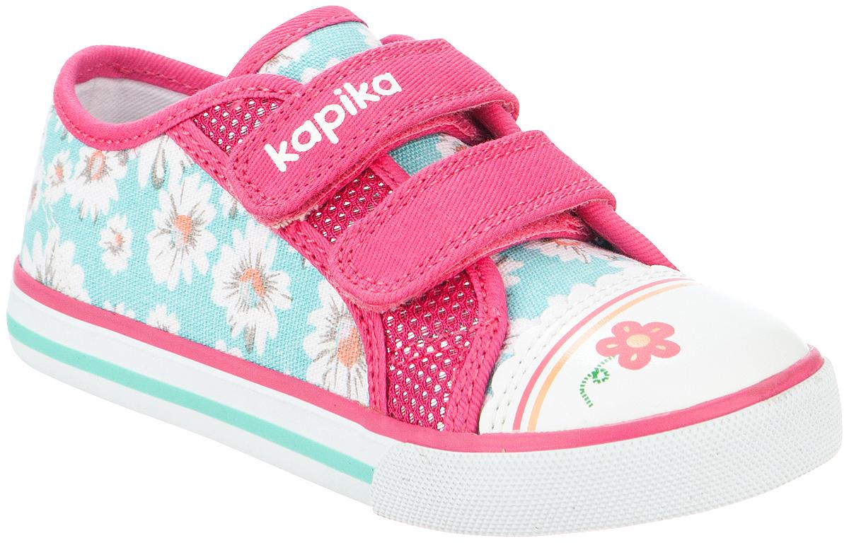 Кеды для девочки Kapika, цвет: бирюзовый, розовый. 72203-3. Размер 2472203-3Стильные кеды от Kapika заинтересуют вашего ребенка с первого взгляда. Модель, выполненная из текстиля и искусственной кожи, дополнена стильным принтом. Ремешки на застежках-липучках, гарантируют надежную фиксацию модели на ноге. Внутренняя поверхность из текстиля обеспечивает комфорт и предотвращает натирание. Стелька с супинатором изготовлена из натуральной кожи, благодаря чему обувь дышит, что обеспечивает идеальный микроклимат. Рифление на подошве гарантирует отличное сцепление с любой поверхностью. Удобные кеды займут достойное место в гардеробе вашего ребенка.
