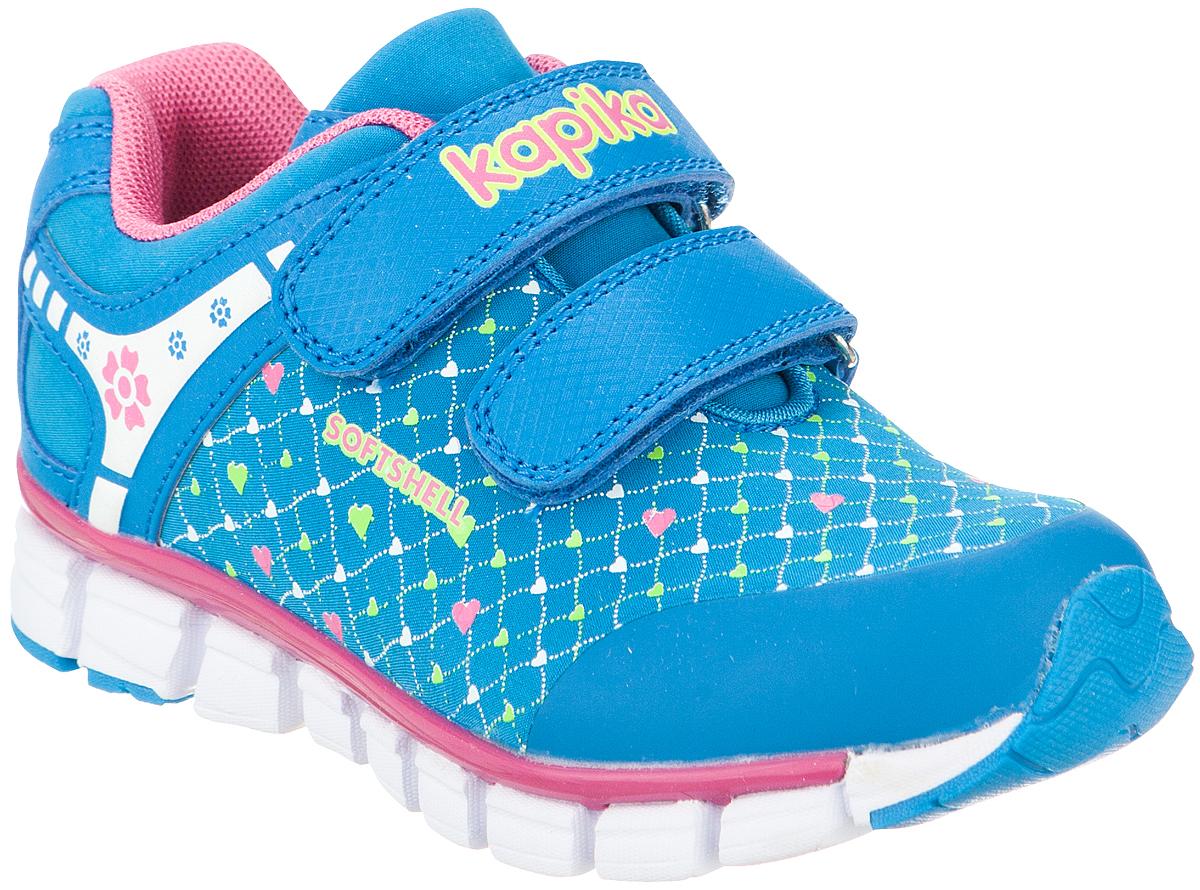 Кроссовки для девочки Kapika, цвет: голубой. 72183с-2. Размер 3072183с-2Удобные и стильные кроссовки для девочки Kapika прекрасно подойдут вашему ребенку для активного отдыха и повседневной носки. Верх модели выполнен из искусственной кожи и текстиля. Стелька изготовлена из натуральной кожи, благодаря чему обувь дышит, что обеспечивает идеальный микроклимат. Для удобства обувания и надежной фиксации стопы на подъеме имеются два ремешка на липучках. Рельефная подошва не скользит и обеспечивает хорошее сцепление с поверхностью. Кроссовки оформлены принтом и логотипом бренда. В такой обуви ногам вашего ребенка,будет комфортно и уютно!