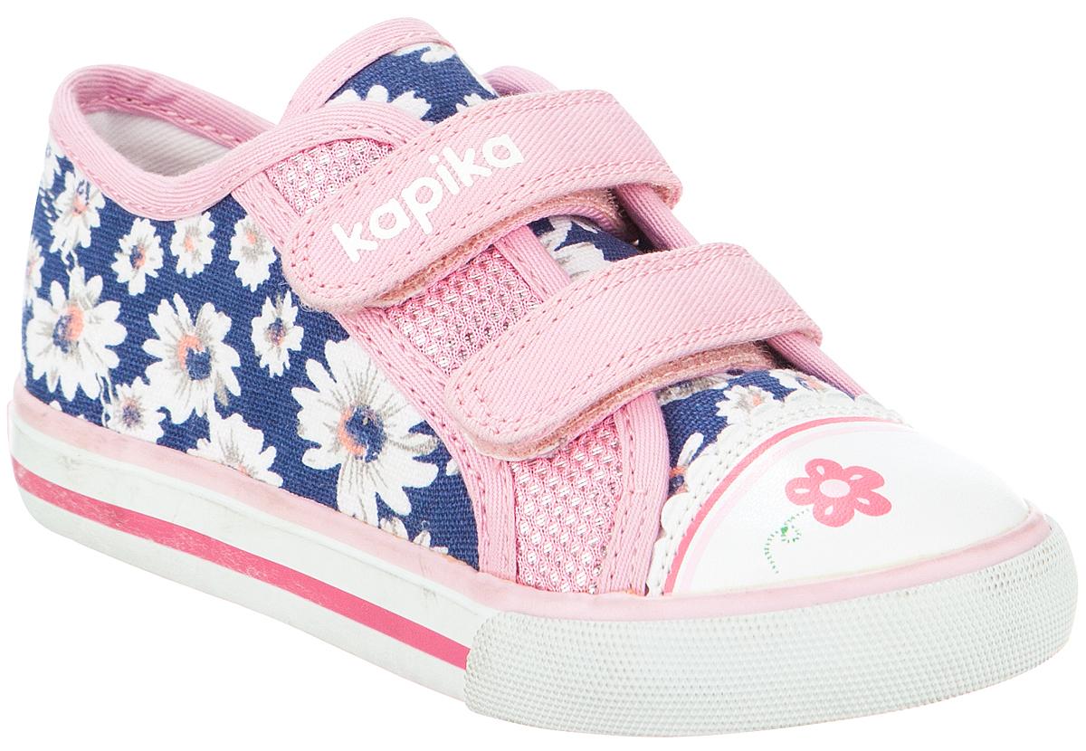 Кеды для девочки Kapika, цвет: синий, розовый. 72203-1. Размер 2372203-1Стильные кеды от Kapika заинтересуют вашего ребенка с первого взгляда. Модель, выполненная из текстиля и искусственной кожи, дополнена стильным принтом. Ремешки на застежках-липучках, гарантируют надежную фиксацию модели на ноге. Внутренняя поверхность из текстиля обеспечивает комфорт и предотвращает натирание. Стелька с супинатором изготовлена из натуральной кожи, благодаря чему обувь дышит, что обеспечивает идеальный микроклимат. Рифление на подошве гарантирует отличное сцепление с любой поверхностью. Удобные кеды займут достойное место в гардеробе вашего ребенка.