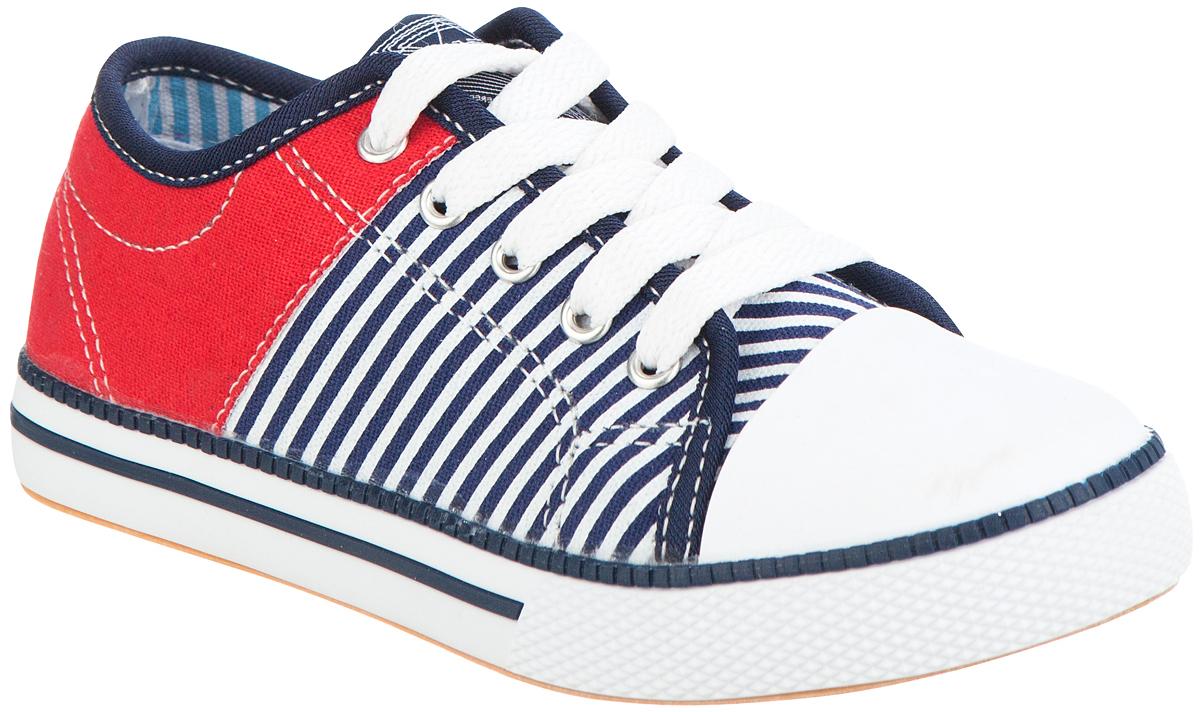 Кеды детские Kapika, цвет: синий, красный. 73324-2. Размер 3373324-2Модные кеды от Kapika придутся по душе вашему ребенку. Модель выполнена из плотного текстиля и дополнена классической прорезиненной вставкой на мыске. Укрепленный задник оформлен контрастной прострочкой. Подъем обуви декорирован принтом в полоску. Подкладка, изготовленная из текстиля, гарантирует уют и предотвратит натирание. Стелька из натуральной кожи обеспечит комфорт. Шнуровка и боковая застежка-молния надежно зафиксируют изделие на ноге. Подошва оснащена рифлением для лучшего сцепления с поверхностями. В такой обуви ножкам вашего ребенка всегда будет комфортно и уютно.