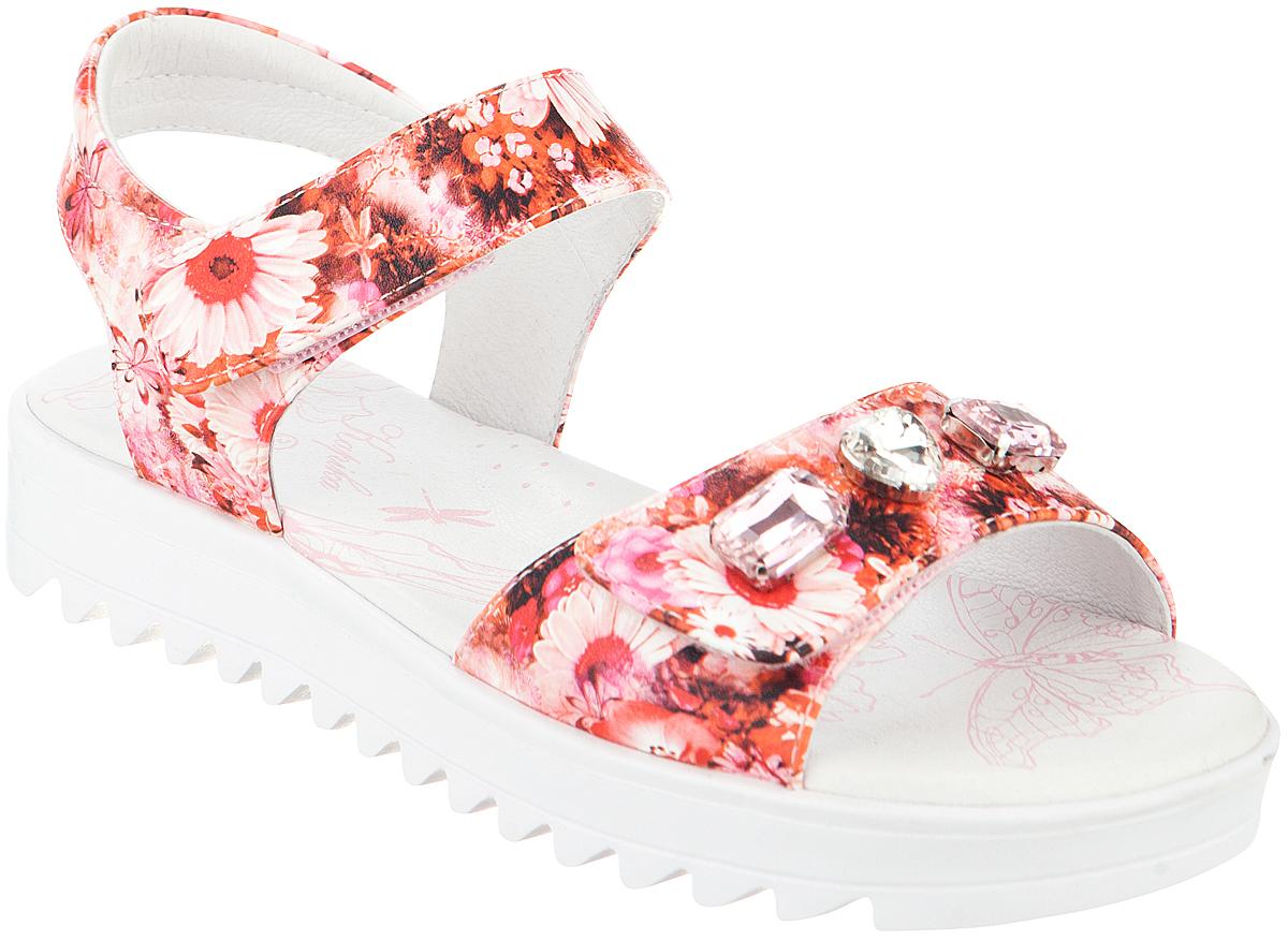 Сандалии для девочки Kapika, цвет: розовый, оранжевый. 34044п-1. Размер 3634044п-1Модные сандалии для девочки от Kapika выполнены из искусственной кожи. Внутренняя поверхность и стелька из натуральной кожи обеспечат комфорт при движении. Ремешки с застежками-липучками надежно зафиксируют модель на ноге. Передний ремешок оформлен крупными стразами. Подошва дополнена рифлением.
