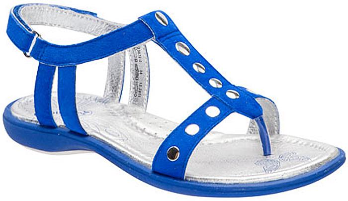 Сандалии для девочки Kapika, цвет: синий. 33072-2. Размер 3533072-2Модные сандалии для девочки от Kapika выполнены из натуральной кожи с бархатистой поверхностью. Внутренняя поверхность и стелька из натуральной кожи обеспечат комфорт при движении. Ремешок с застежкой-липучкой надежно зафиксирует модель на ноге. Подошва дополнена рифлением.
