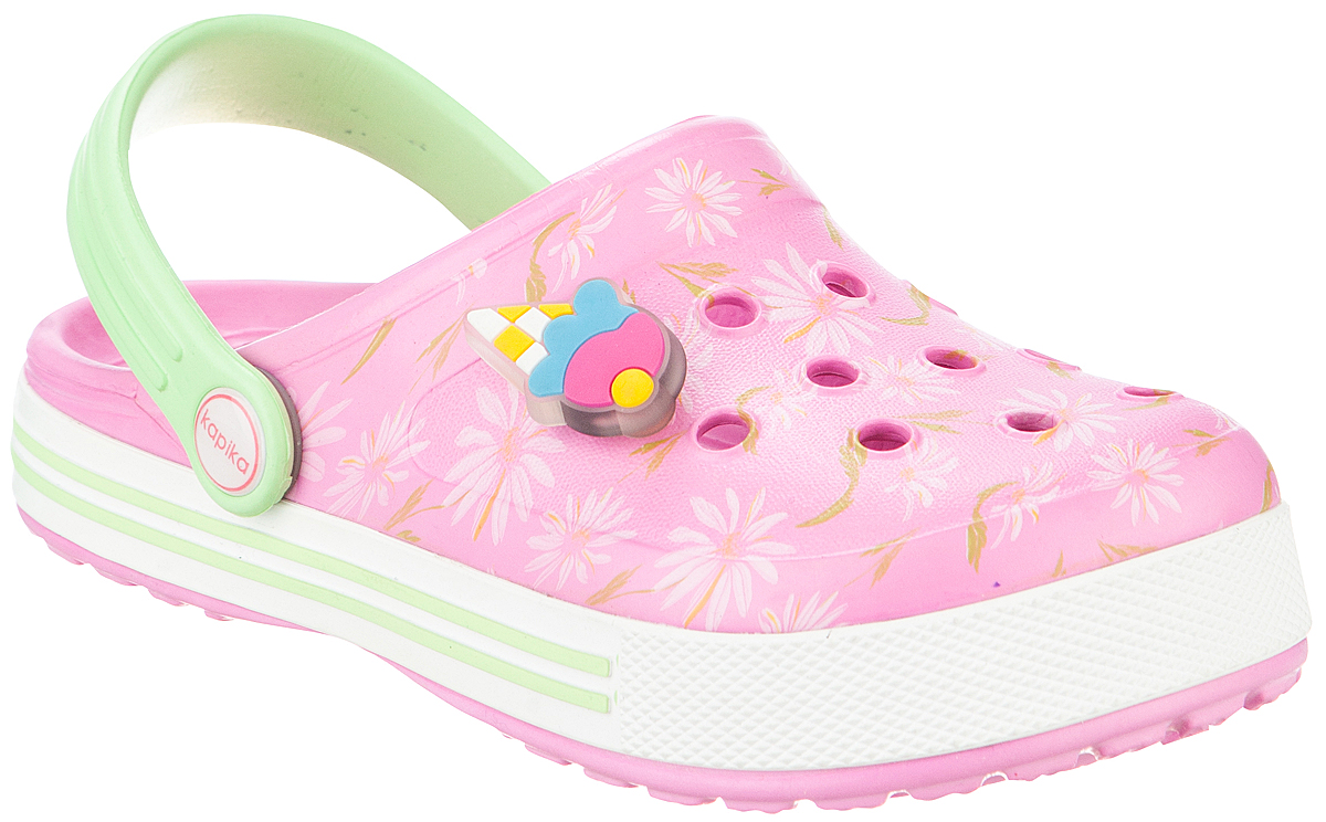 Сабо для девочки Kapika, цвет: розовый, салатовый. 82103. Размер 3382103Прелестные сабо от Kapika придутся по душе вашему ребенку. Модель полностью изготовлена из материала ЭВА, благодаря которому обувь невероятно легкая и удобная, она легко моется и быстро сохнет. Изделие дополнено цветочным принтом. Верх модели оформлен перфорацией и декоративным элементом. Пяточный ремешок предназначен для фиксации стопы при ходьбе. Рифление на подошве гарантирует идеальное сцепление с любой поверхностью. Такие сабо - отличное решение для каждодневного использования в жаркую погоду.