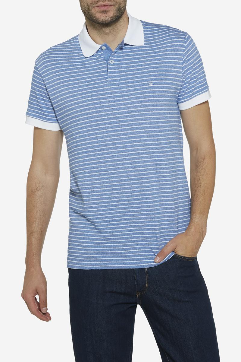 Поло мужское Wrangler, цвет: голубой, белый. W7A34KW05. Размер L (50)W7A34KW05Стильное мужское поло от бренда Wrangler изготовлено из натурального хлопка с добавлением эластана. Модель с короткими рукавами дополнена на груди застежками-пуговицами. Оформлено поло принтом в полоску и вышитым логотипом бренда.