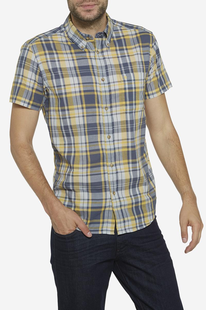 Рубашка мужская Wrangler, цвет: горчичный, серый. W5960MG04. Размер XL (52)W5960MG04Мужская рубашка Wrangler изготовлена из натурального хлопка. Модель с короткими рукавами имеет на груди накладной открытый карман. Рубашка застегивается спереди на пуговицы. Оформлена модель стильным принтом в клетку.