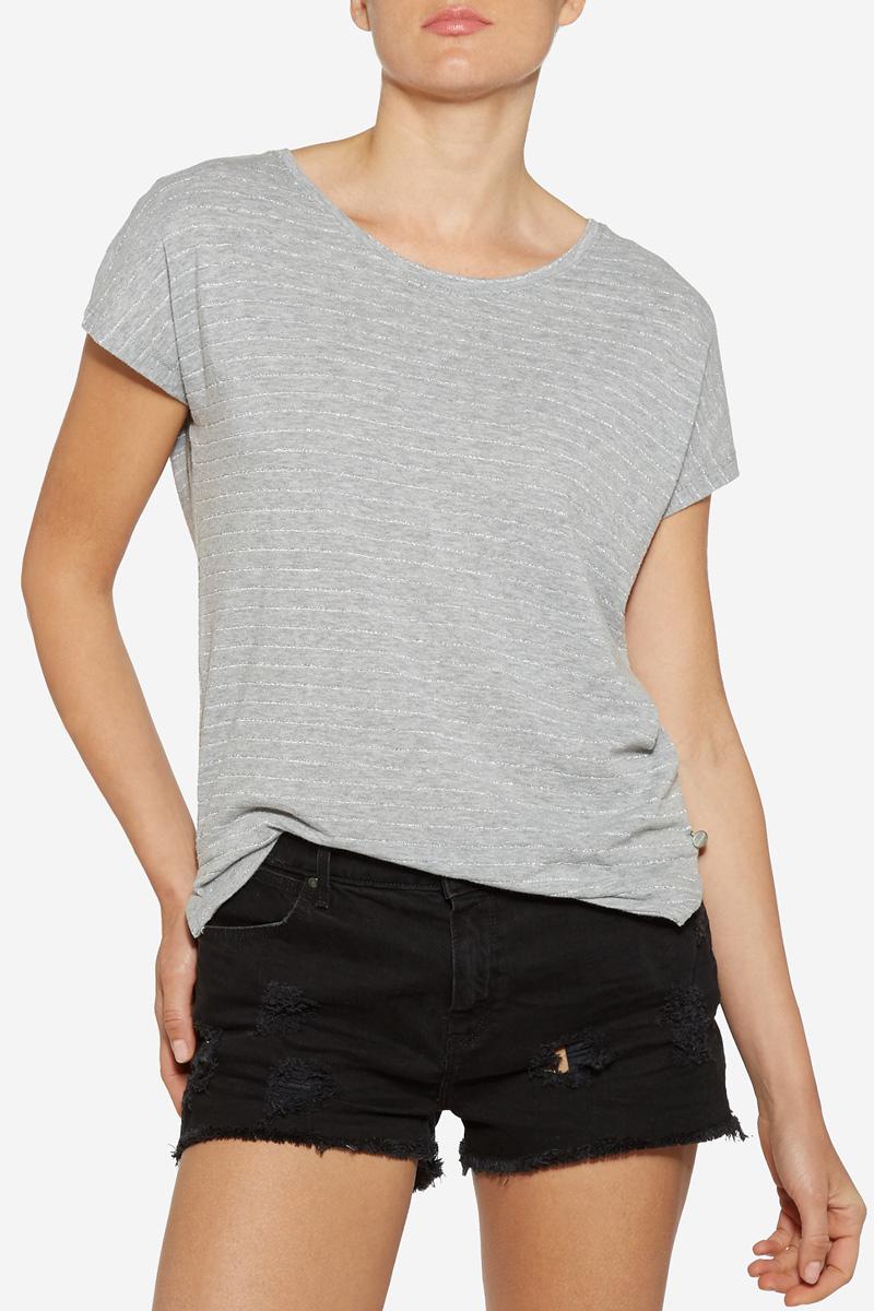 Футболка женская Wrangler, цвет: серый. W7331E537. Размер S (42)W7331E537Стильная футболка свободного кроя Wrangler изготовлена из натуральной вискозы. Имеет круглый вырез горловины и летучие цельнокроеные рукава. Боковые швы имеют небольшие разрезы. Оформлена футболка горизонтальными полосками с блестящим люрексом.