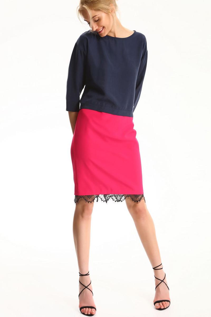 Блузка женская Top Secret, цвет: темно-синий. SBD0683GR. Размер 40 (48)SBD0683GRБлузка женская Top Secret выполнена из лиоцелла. Модель с круглым вырезом горловины и рукавами 3/4.