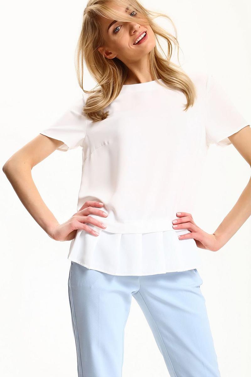 Блузка женская Top Secret, цвет: белый. SBK2229BI. Размер 40 (48)SBK2229BIБлузка женская Top Secret выполнена из полиэстера. Модель с круглым вырезом горловины и короткими рукавами.