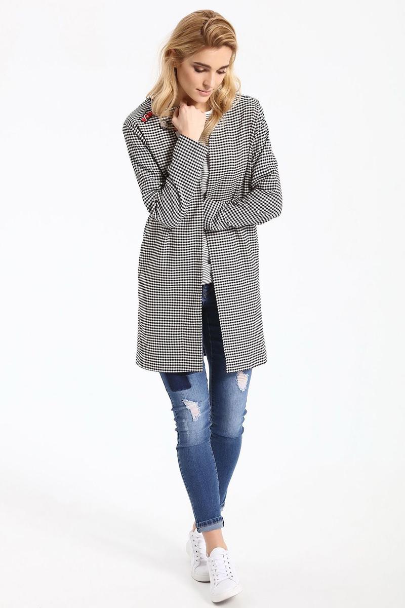 Пальто женское Top Secret, цвет: черный. SPZ0388CA. Размер 34 (42)SPZ0388CAЖенское пальто Top Secret выполнено из высококачественного комбинированного материала. Модель с длинными рукавами. Оформлено изделие принтом в клетку.